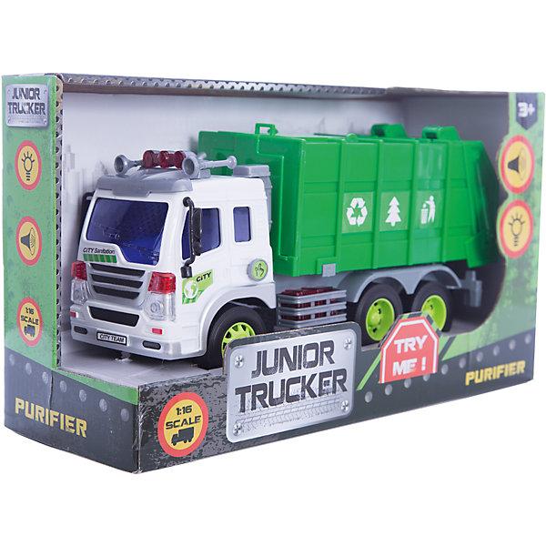 Мусоровоз 1:16, Dave ToysМашинки<br>Характеристики товара:<br><br>• возраст: от 3 лет;<br>• материал: пластик;<br>• длина игрушки: 28,5 см;<br>• масштаб машины: 1:16;<br>• размер упаковки: 32,6х18,6х11,5 см;<br>• вес упаковки: 1,25 кг;<br>• страна производитель: Китай.<br><br>Мусоровоз Dave Toys представляет собой копию настоящей машины для сборки мусора. У нее поднимается и опускается мусорный контейнер. Машина оснащена инерционным механизмом: чтобы привести ее в движение, надо потянуть машину немного назад и отпустить. Световые и звуковые эффекты делают игру еще увлекательней.<br><br>Мусоровоз Dave Toys можно приобрести в нашем интернет-магазине.<br>Ширина мм: 326; Глубина мм: 115; Высота мм: 186; Вес г: 1250; Возраст от месяцев: 36; Возраст до месяцев: 144; Пол: Мужской; Возраст: Детский; SKU: 6835699;