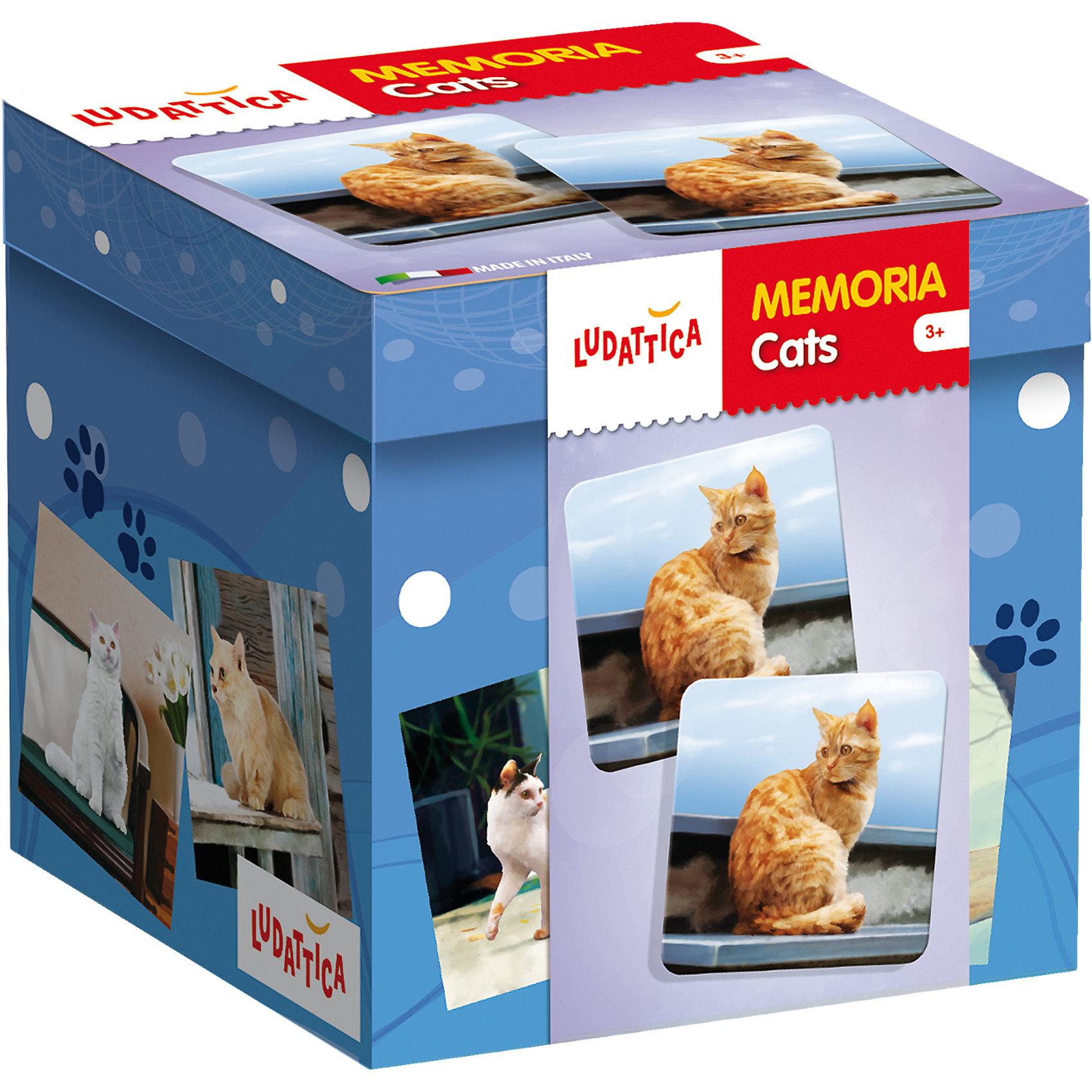LUDATTICA Игра-мемори «КОШКИ»Игры мемо<br>Игра на развитие памяти. Комплект содержит 40 прекрасно иллюстрированных крупных карточек с изображениями различных пород кошек. Собирая пары одинаковых картинок, нужно набрать их как можно больше.<br><br>Ширина мм: 125<br>Глубина мм: 131<br>Высота мм: 129<br>Вес г: 606<br>Возраст от месяцев: 36<br>Возраст до месяцев: 72<br>Пол: Унисекс<br>Возраст: Детский<br>SKU: 6836756
