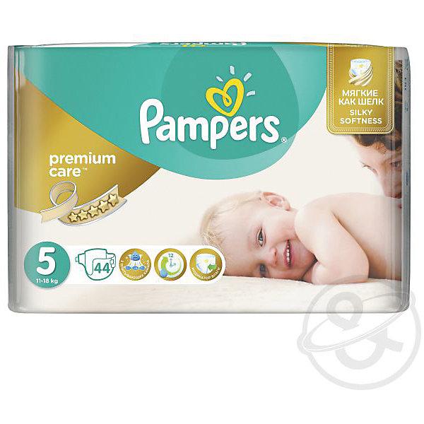 Подгузники Pampers Premium Care, 11-18 кг, 5 размер, 44 шт., PampersПодгузники классические<br>Характеристики:<br><br>• Пол: универсальный<br>• Тип подгузника: одноразовый<br>• Коллекция: Premium Care<br>• Предназначение: для использования в любое время суток <br>• Размер: 5<br>• Вес ребенка: от 11 до 18 кг<br>• Количество в упаковке: 44 шт.<br>• Упаковка: пакет<br>• Размер упаковки: 30,5*12*23,1 см<br>• Вес в упаковке: 1 кг 147 г<br>• Эластичные застежки-липучки<br>• Подходят для чувствительной кожи<br>• Индикатор влаги<br>• Дышащие материалы<br>• Повышенные впитывающие свойства<br><br>Подгузники Pampers Premium Care, 11-18 кг, 5 размер, 44 шт., Pampers – это новейшая линейка детских подгузников от Pampers, которая сочетает в себе высокое качество и безопасность материалов, удобство использования и комфорт для нежной кожи малыша. Подгузники предназначены для детей весом до 18 кг. Инновационные технологии и современные материалы обеспечивают этим подгузникам дышащие свойства, что особенно важно для кожи малыша. <br><br>Три впитывающих слоя обеспечивают повышенные впитывающие качества, при этом верхний слой остается сухим и мягким. У подгузников предусмотрена эластичная мягкая резиночка на спинке. Широкие липучки с двух сторон обеспечивают надежную фиксацию. У подгузника предусмотрен индикатор сухости-влажности, полоска, которая по мере наполнения меняет цвет. Подгузник подходит как для мальчиков, так и для девочек. <br><br>Подгузники Pampers Premium Care, 11-18 кг, 5 размер, 44 шт., Pampers можно купить в нашем интернет-магазине.<br><br>Ширина мм: 431<br>Глубина мм: 245<br>Высота мм: 307<br>Вес г: 3083<br>Возраст от месяцев: 12<br>Возраст до месяцев: 24<br>Пол: Унисекс<br>Возраст: Детский<br>SKU: 6837467