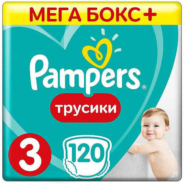 Трусики Pampers Pants, 6-11кг, размер 3, 120 шт., PampersТрусики-подгузники<br>Характеристики:<br><br>• Вид подгузника: трусики<br>• Пол: универсальный<br>• Тип подгузника: одноразовый<br>• Коллекция: Active Baby<br>• Предназначение: для ночного сна <br>• Размер: 3<br>• Вес ребенка: от 6 до 11 кг<br>• Количество в упаковке: 120 шт.<br>• Упаковка: картонная коробка<br>• Размер упаковки: 41*28,7*30,8 см<br>• Вес в упаковке: 3 кг 197 г<br>• Наружные боковые швы<br>• До 12 часов сухости<br>• Эластичные резинки <br>• Дышащие материалы<br>• Повышенные впитывающие свойства<br><br>Трусики Pampers Pants, 6-11 кг, размер 3, 120 шт., Pampers – это новейшая линейка детских подгузников от Pampers, которая сочетает в себе высокое качество и безопасность материалов, удобство использования и комфорт для нежной кожи малыша. Подгузники выполнены в виде трусиков и предназначены для детей весом до 11 кг. Инновационные технологии и современные материалы обеспечивают этим подгузникам Дышащие свойства, что особенно важно для кожи малыша. Повышенные впитывающие качества изделию обеспечивают специальные микрогранулы, сохраняя верхний слой сухим до 12 часов, именно поэтому эту линейку трусиков производитель рекомендует использовать для ночного сна. <br><br>У трусиков предусмотрена эластичная мягкая резиночка на спинке и манжеты на ножках, что защищает от протекания. Боковые наружные швы не натирают нежную кожу малыша, легко разрываются при смене трусиков. Сзади имеется клейкая лента, которая позволяет зафиксировать свернутые после использования трусики. Трусики подходит как для мальчиков, так и для девочек. <br><br>Трусики Pampers Pants, 6-11 кг, размер 3, 120 шт., Pampers можно купить в нашем интернет-магазине.<br>Ширина мм: 431; Глубина мм: 245; Высота мм: 307; Вес г: 3083; Возраст от месяцев: 6; Возраст до месяцев: 12; Пол: Унисекс; Возраст: Детский; SKU: 6837468;