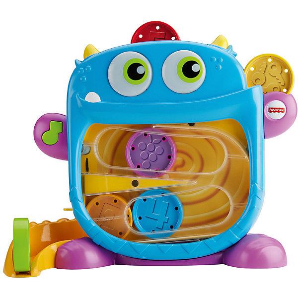 Игрушка Fisher Price Голодный монстрикРазвивающие игрушки<br>Характеристики товара:<br><br>• возраст: 9 мес. и старше<br>• свет/звук<br>• материал: пластик;<br>• упаковка: коробка открытого типа;<br>• в наборе 6 дисков, чтобы кормить монстрика <br>• страна бренда: США<br><br>Кто здесь голодный, кого покормить? Это он, жующий монстрик! Благодаря двум отверстиям для еды, малыш может кормить монстра вкусным миксом из ярких угощений и смотреть, как те скатываются в животик монстра и вниз по хвосту, издавая смешные звуки! Чав, чав! Когда он жует, его глаза светятся. А когда время кормления подошло к концу, просто отодвиньте дверцу возле его хвоста, чтобы хранить угощения внутри. <br><br>Вставляйте разноцветные диски в голову монстрика и смотрите, как те скатываются в его животик и хвост. Малыша вознаграждают веселые звуки жевания и светящиеся глаза монстрика. Используйте дверцу на его хвосте, чтобы хранить диски внутри.<br><br>Малыш понимает, что бросая диски в сортер активируется подсветка в глазах монстирка, и это побуждает малыша с нетерпением ждать новых открытий! По мере того, как ребенок практикует свои навыки кормления монстра, он начинает делать это быстрее, тем самым повышая собственную самооценку.<br>Ширина мм: 314; Глубина мм: 282; Высота мм: 111; Вес г: 1099; Возраст от месяцев: 9; Возраст до месяцев: 24; Пол: Унисекс; Возраст: Детский; SKU: 6838621;