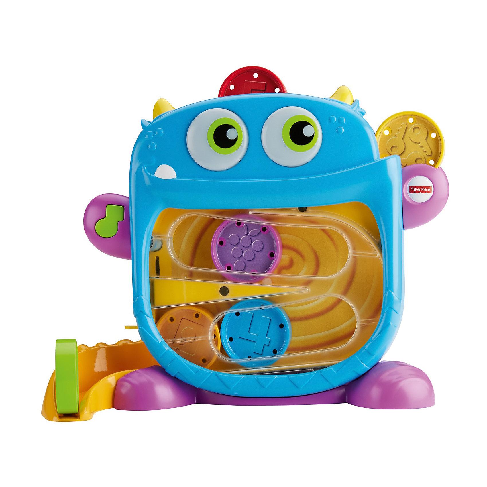 Игрушка Fisher Price Голодный монстрикРазвивающие игрушки<br>Характеристики товара:<br><br>• возраст: 9 мес. и старше<br>• свет/звук<br>• материал: пластик;<br>• упаковка: коробка открытого типа;<br>• в наборе 6 дисков, чтобы кормить монстрика <br>• страна бренда: США<br><br>Кто здесь голодный, кого покормить? Это он, жующий монстрик! Благодаря двум отверстиям для еды, малыш может кормить монстра вкусным миксом из ярких угощений и смотреть, как те скатываются в животик монстра и вниз по хвосту, издавая смешные звуки! Чав, чав! Когда он жует, его глаза светятся. А когда время кормления подошло к концу, просто отодвиньте дверцу возле его хвоста, чтобы хранить угощения внутри. <br><br>Вставляйте разноцветные диски в голову монстрика и смотрите, как те скатываются в его животик и хвост. Малыша вознаграждают веселые звуки жевания и светящиеся глаза монстрика. Используйте дверцу на его хвосте, чтобы хранить диски внутри.<br><br>Малыш понимает, что бросая диски в сортер активируется подсветка в глазах монстирка, и это побуждает малыша с нетерпением ждать новых открытий! По мере того, как ребенок практикует свои навыки кормления монстра, он начинает делать это быстрее, тем самым повышая собственную самооценку.<br><br>Ширина мм: 314<br>Глубина мм: 282<br>Высота мм: 111<br>Вес г: 1099<br>Возраст от месяцев: 9<br>Возраст до месяцев: 24<br>Пол: Унисекс<br>Возраст: Детский<br>SKU: 6838621
