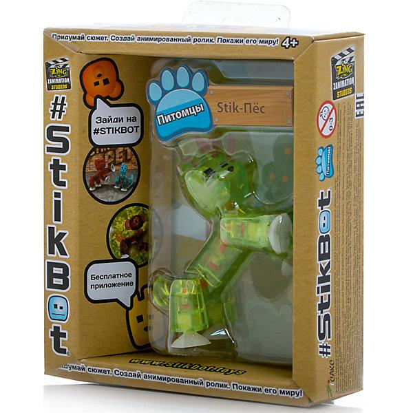 Фигурка питомца Собака, зеленая, StikbotКоллекционные и игровые фигурки<br>Характеристики товара:<br><br>• возраст: от 4 лет;<br>• материал: пластик;<br>• в комплекте: 1 фигурка;<br>• размер упаковки: 11х12х3,5 см;<br>• вес упаковки: 100 гр.;<br>• страна производитель: Китай.<br><br>Фигурка питомца «Собака» зеленая Stikbot — необычная фигурка с подвижными деталями, с помощью которой можно снимать забавные и смешные видеоролики. На лапках питомца имеются присоски, которые крепятся к поверхности.<br><br>Для создания видеороликов необходимо скачать бесплатное мобильное приложение. А затем при помощи обычного телефона можно записывать небольшие фрагменты, придавая фигурке различные позы. Все фрагменты после записи монтируются в один видеоролик, на который накладывается музыка, фон, голосовые заметки.<br><br>Игрушка позволит детям устроить свою собственную студию и проявить творческие способности и воображение. <br><br>Фигурку питомца «Собака» зеленая Stikbot можно приобрести в нашем интернет-магазине.<br>Ширина мм: 35; Глубина мм: 120; Высота мм: 110; Вес г: 66; Возраст от месяцев: 48; Возраст до месяцев: 2147483647; Пол: Унисекс; Возраст: Детский; SKU: 6838666;