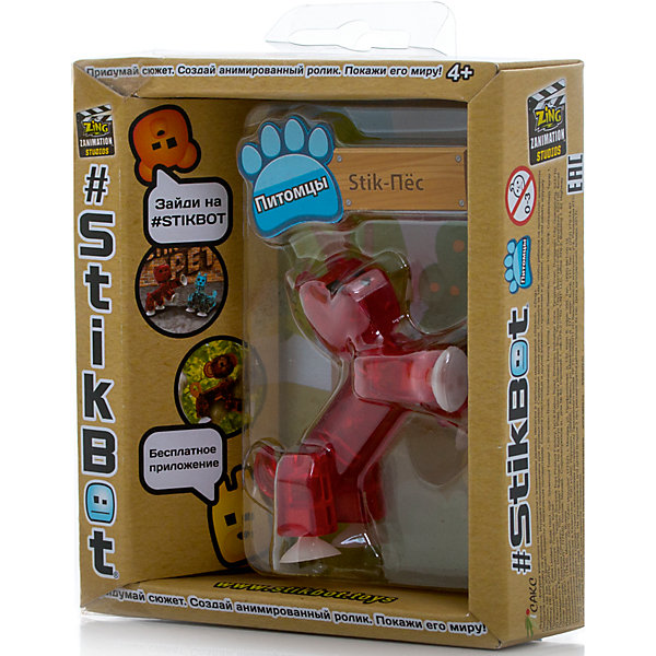 Фигурка питомца Собака, красная, StikbotКоллекционные и игровые фигурки<br>Характеристики товара:<br><br>• возраст: от 4 лет;<br>• материал: пластик;<br>• в комплекте: 1 фигурка;<br>• размер упаковки: 11х12х3,5 см;<br>• вес упаковки: 100 гр.;<br>• страна производитель: Китай.<br><br>Фигурка питомца «Собака» красная Stikbot — необычная фигурка с подвижными деталями, с помощью которой можно снимать забавные и смешные видеоролики. На лапках питомца имеются присоски, которые крепятся к поверхности.<br><br>Для создания видеороликов необходимо скачать бесплатное мобильное приложение. А затем при помощи обычного телефона можно записывать небольшие фрагменты, придавая фигурке различные позы. Все фрагменты после записи монтируются в один видеоролик, на который накладывается музыка, фон, голосовые заметки.<br><br>Игрушка позволит детям устроить свою собственную студию и проявить творческие способности и воображение. <br><br>Фигурку питомца «Собака» красная Stikbot можно приобрести в нашем интернет-магазине.<br>Ширина мм: 35; Глубина мм: 120; Высота мм: 110; Вес г: 66; Возраст от месяцев: 48; Возраст до месяцев: 2147483647; Пол: Унисекс; Возраст: Детский; SKU: 6838667;