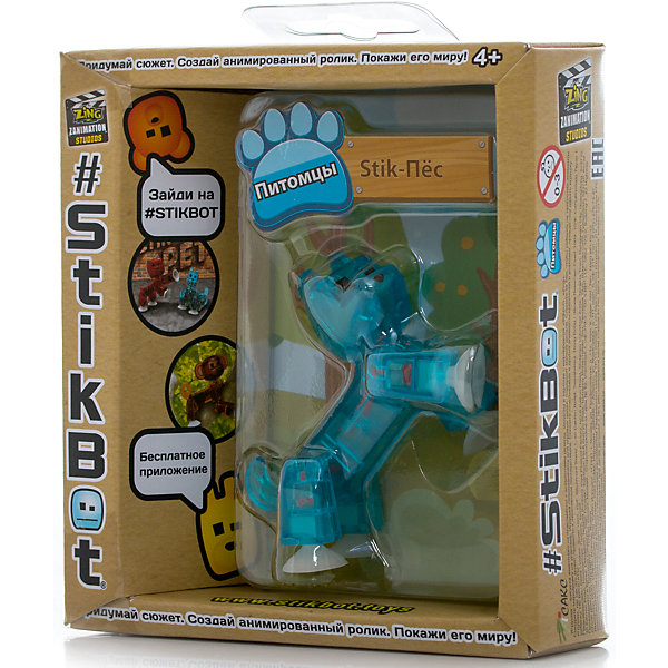 Фигурка питомца Собака, синяя, StikbotФигурки из мультфильмов<br>Характеристики товара:<br><br>• возраст: от 4 лет;<br>• материал: пластик;<br>• в комплекте: 1 фигурка;<br>• размер упаковки: 11х12х3,5 см;<br>• вес упаковки: 100 гр.;<br>• страна производитель: Китай.<br><br>Фигурка питомца «Собака» синяя Stikbot — необычная фигурка с подвижными деталями, с помощью которой можно снимать забавные и смешные видеоролики. На лапках питомца имеются присоски, которые крепятся к поверхности.<br><br>Для создания видеороликов необходимо скачать бесплатное мобильное приложение. А затем при помощи обычного телефона можно записывать небольшие фрагменты, придавая фигурке различные позы. Все фрагменты после записи монтируются в один видеоролик, на который накладывается музыка, фон, голосовые заметки.<br><br>Игрушка позволит детям устроить свою собственную студию и проявить творческие способности и воображение. <br><br>Фигурку питомца «Собака» синяя Stikbot можно приобрести в нашем интернет-магазине.<br>Ширина мм: 35; Глубина мм: 120; Высота мм: 110; Вес г: 66; Возраст от месяцев: 48; Возраст до месяцев: 2147483647; Пол: Унисекс; Возраст: Детский; SKU: 6838668;