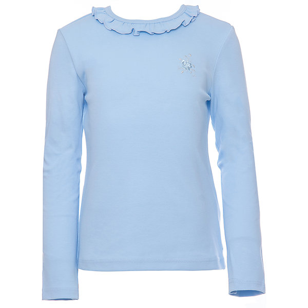 Футболка с длинным рукавом для девочки Белый снегБлузки и рубашки<br>Характеристики товара:<br><br>• цвет: голубой<br>• материал: 100% хлопок<br>• прилегающий силуэт<br>• длинные рукава<br>• застежка: кнопка<br>• декорирована рюшей<br>• мягкая обработка краев<br>• натуральный дышащий материал<br>• страна бренда: Российская Федерация<br>• страна производства: Российская Федерация<br><br>Школьная водолазка для девочки. Лонгслив декорирован воротником-рюшей. Школьная кофта с длинным рукавом, сзади у воротника застежка-пуговица.<br><br>Водолазку для девочки Белый снег можно купить в нашем интернет-магазине.<br><br>Ширина мм: 230<br>Глубина мм: 40<br>Высота мм: 220<br>Вес г: 250<br>Цвет: голубой<br>Возраст от месяцев: 144<br>Возраст до месяцев: 156<br>Пол: Женский<br>Возраст: Детский<br>Размер: 158,122/128,134,140/146,152<br>SKU: 6839139