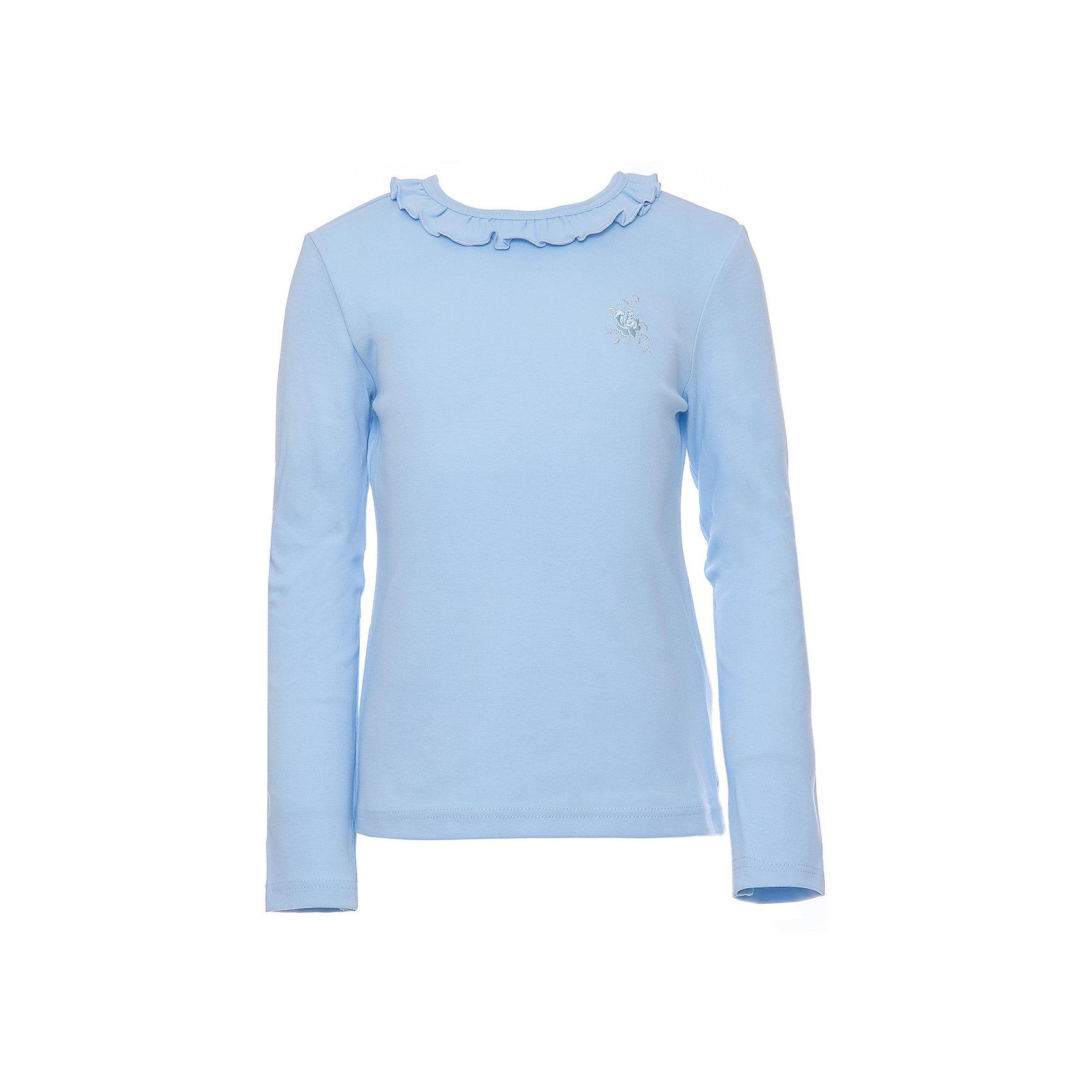 Футболка с длинным рукавом для девочки Белый снегБлузки и рубашки<br>Характеристики товара:<br><br>• цвет: голубой<br>• материал: 100% хлопок<br>• прилегающий силуэт<br>• длинные рукава<br>• застежка: кнопка<br>• декорирована рюшей<br>• мягкая обработка краев<br>• натуральный дышащий материал<br>• страна бренда: Российская Федерация<br>• страна производства: Российская Федерация<br><br>Школьная водолазка для девочки. Лонгслив декорирован воротником-рюшей. Школьная кофта с длинным рукавом, сзади у воротника застежка-пуговица.<br><br>Водолазку для девочки Белый снег можно купить в нашем интернет-магазине.<br><br>Ширина мм: 230<br>Глубина мм: 40<br>Высота мм: 220<br>Вес г: 250<br>Цвет: голубой<br>Возраст от месяцев: 84<br>Возраст до месяцев: 96<br>Пол: Женский<br>Возраст: Детский<br>Размер: 122/128,158,134,140/146,152<br>SKU: 6839139