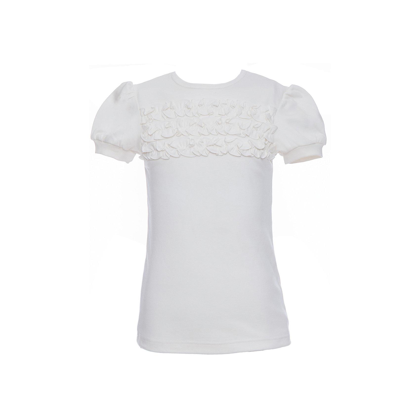 Блузка для девочки Белый снегБлузки и рубашки<br>Характеристики товара:<br><br>• цвет: белый<br>• 100% хлопок<br>• декорирована рюшами<br>• с коротким рукавом<br>• застежка: пуговица<br>• манжеты на резинке<br>• особенности: школьная, однотонная<br>• страна бренда: Российская Федерация<br>• страна производства: Российская Федерация<br><br>Школьная блузка с коротким рукавом для девочки. Белая блузка с рюшами застегивается сзади на одну пуговицу, для удобства надевания через голову. Манжеты рукавов на эластичной резинке.<br><br>Блузку для девочки Белый снег можно купить в нашем интернет-магазине.<br><br>Ширина мм: 230<br>Глубина мм: 40<br>Высота мм: 220<br>Вес г: 250<br>Цвет: белый<br>Возраст от месяцев: 120<br>Возраст до месяцев: 132<br>Пол: Женский<br>Возраст: Детский<br>Размер: 140/146,152,122/128,134<br>SKU: 6839186