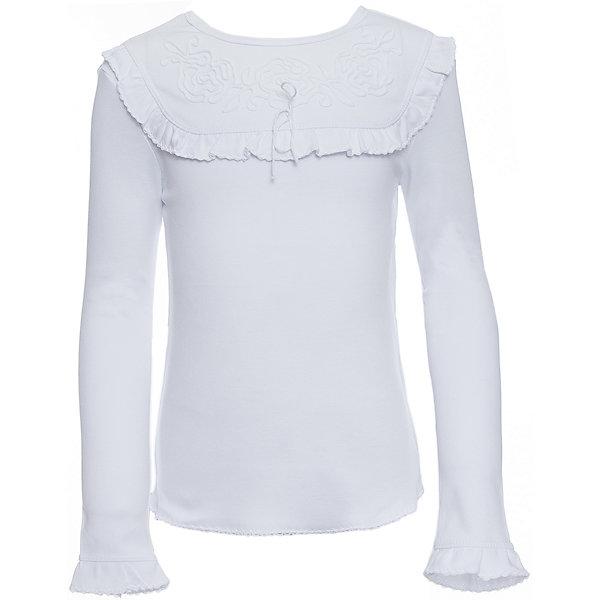 Футболка с длинным рукавом Белый снег для девочкиБлузки и рубашки<br>Характеристики товара:<br><br>• цвет: белый<br>• материал: 100% хлопок<br>• сезон: демисезон<br>• полуприлегающий силуэт<br>• длинные рукава<br>• декорирована рюшей<br>• мягкая обработка краев<br>• натуральный дышащий материал<br>• страна бренда: Российская Федерация<br>• страна производства: Российская Федерация<br><br>Школьная блузка с длинным рукавом для девочки. Однотонная блузка с декоративным воротником и расклешенными книзу рукавами.<br><br>Водолазку Белый снег можно купить в нашем интернет-магазине.<br>Ширина мм: 230; Глубина мм: 40; Высота мм: 220; Вес г: 250; Цвет: белый; Возраст от месяцев: 144; Возраст до месяцев: 156; Пол: Женский; Возраст: Детский; Размер: 158,152,140/146,134,122/128; SKU: 6839262;