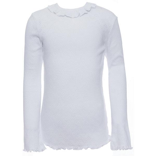 Футболка с длинным рукавом Белый снег для девочкиБлузки и рубашки<br>Характеристики товара:<br><br>• цвет: белый<br>• материал: 100% хлопок<br>• полуприлегающий силуэт<br>• длинные рукава<br>• застежка: кнопка<br>• декорирована рюшей<br>• мягкая обработка краев<br>• натуральный дышащий материал<br>• страна бренда: Российская Федерация<br>• страна производства: Российская Федерация<br><br>Школьная блузка с длинным рукавом для девочки. Однотонная блузка с декоративным воротничком и расклешенными книзу рукавами.<br><br>Водолазку Белый снег можно купить в нашем интернет-магазине.<br><br>Ширина мм: 230<br>Глубина мм: 40<br>Высота мм: 220<br>Вес г: 250<br>Цвет: белый<br>Возраст от месяцев: 144<br>Возраст до месяцев: 156<br>Пол: Женский<br>Возраст: Детский<br>Размер: 158,122/128,134,140/146,152<br>SKU: 6839274