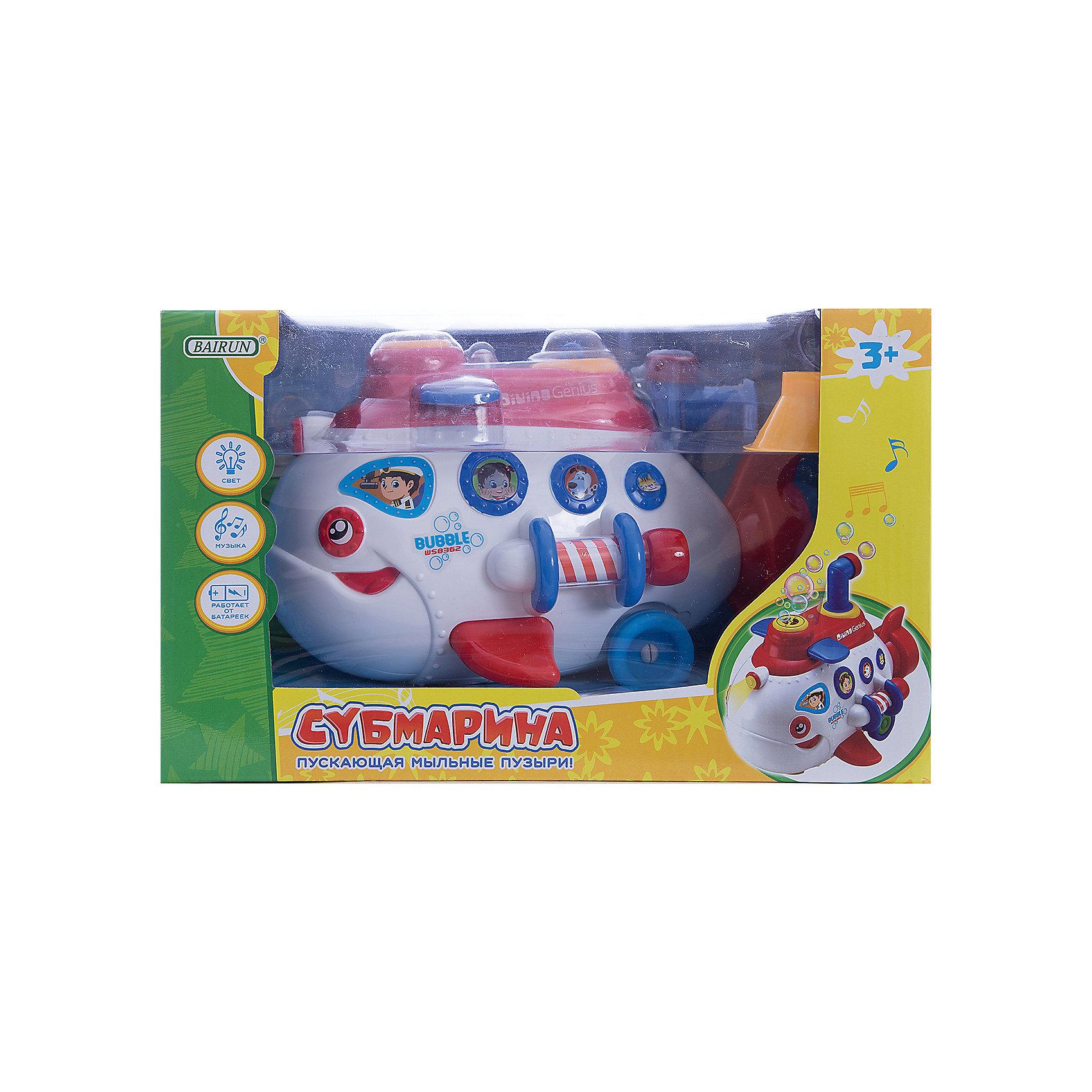 Игрушка Bairun Субмарина пускающая мыльные пузыриМыльные пузыри<br>Характеристики:<br><br>• возраст: от 3 лет<br>• комплектация: субмарина, воронка, баночка с мыльной жидкостью<br>• особенности: произвольное движение, световые и звуковые эффекты<br>• размер игрушки: 17х28x16 см.<br>• материал: пластик<br>• батарейки: 3 типа АА<br>• наличие батареек: не входят в комплект<br>• упаковка: картонная коробка блистерного типа<br><br>Игрушка в виде яркой подводной лодки «плавает» только по суше, и при движении, устраивает фееричное шоу мыльных пузырей. Дорогу субмарине освещает прожектор. Субмарина с легкостью обходит препятствия и отпугивает акул заводной музыкой.<br><br>Чтобы игрушка начала запуск пузырей, с помощью прилагаемой воронки влейте в специальный отсек субмарины мыльный раствор и наслаждайтесь представлением.<br><br>Игрушку, пускающую мыльные пузыри Субмарина, Bairun (Байран) можно купить в нашем интернет-магазине.<br><br>Ширина мм: 238<br>Глубина мм: 145<br>Высота мм: 145<br>Вес г: 750<br>Возраст от месяцев: 36<br>Возраст до месяцев: 2147483647<br>Пол: Унисекс<br>Возраст: Детский<br>SKU: 6841722