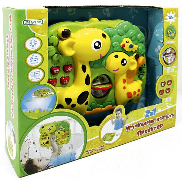 Музыкальный проектор-подвеска 2 в 1 Bairun Жирафы (свет, звук)Игрушки для новорожденных<br>Характеристики:<br><br>• возраст: от 12 месяцев<br>• материал: пластик<br>• подвешивается на кроватку<br>• батарейки: 4 типа AA / LR6 1.5V<br>• наличие батареек: не входят в комплект<br>• размер упаковки: 31х25х8 см.<br><br>Музыкальная игрушка-проектор 2 в 1 от бренда Bairun (Байран) представляет собой планшет в виде зеленого сада, в котором обитают два веселых жирафа. С ней можно играть, как держа в руках, так и закрепив к бортику кроватки при помощи ремешков.<br><br>Объемные кнопочки активируют музыкальные и световые эффекты. Посередине имеется вращающееся колесико с разными картинками, рассматривая которые, малыш узнает о некоторых обитателях живой природы. Справа есть переключатель, который позволит регулировать громкость музыки.<br><br>Звуковой модуль воспроизводит различные звуки природы и колыбельную. Проектор проецирует на стены изображения веселых зверушек. Интенсивность свечения можно настроить. Игрушка выполнена из прочного и нетоксичного пластика, полностью безопасного для здоровья малыша.<br><br>Музыкальную игрушку- проектор 2 в 1, Bairun (Байран) можно купить в нашем интернет-магазине.<br><br>Ширина мм: 310<br>Глубина мм: 250<br>Высота мм: 8<br>Вес г: 700<br>Возраст от месяцев: 12<br>Возраст до месяцев: 2147483647<br>Пол: Унисекс<br>Возраст: Детский<br>SKU: 6841724