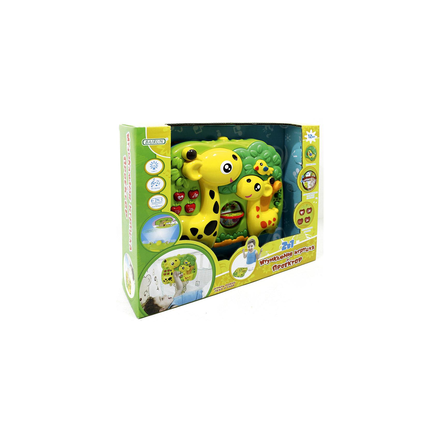 Музыкальный проектор-подвеска 2 в 1 Bairun Жирафы (свет, звук)Развивающие игрушки<br>Характеристики:<br><br>• возраст: от 12 месяцев<br>• материал: пластик<br>• подвешивается на кроватку<br>• батарейки: 4 типа AA / LR6 1.5V<br>• наличие батареек: не входят в комплект<br>• размер упаковки: 31х25х8 см.<br><br>Музыкальная игрушка-проектор 2 в 1 от бренда Bairun (Байран) представляет собой планшет в виде зеленого сада, в котором обитают два веселых жирафа. С ней можно играть, как держа в руках, так и закрепив к бортику кроватки при помощи ремешков.<br><br>Объемные кнопочки активируют музыкальные и световые эффекты. Посередине имеется вращающееся колесико с разными картинками, рассматривая которые, малыш узнает о некоторых обитателях живой природы. Справа есть переключатель, который позволит регулировать громкость музыки.<br><br>Звуковой модуль воспроизводит различные звуки природы и колыбельную. Проектор проецирует на стены изображения веселых зверушек. Интенсивность свечения можно настроить. Игрушка выполнена из прочного и нетоксичного пластика, полностью безопасного для здоровья малыша.<br><br>Музыкальную игрушку- проектор 2 в 1, Bairun (Байран) можно купить в нашем интернет-магазине.<br><br>Ширина мм: 310<br>Глубина мм: 250<br>Высота мм: 8<br>Вес г: 700<br>Возраст от месяцев: 12<br>Возраст до месяцев: 2147483647<br>Пол: Унисекс<br>Возраст: Детский<br>SKU: 6841724