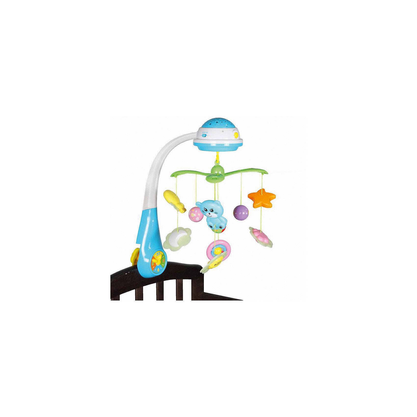 Мобиль-проектор Bairun СветлячкиМобили<br>Характеристики:<br><br>• возраст: от 0 месяцев<br>• количество игрушек: 9<br>• материал: пластик<br>• требуются батарейки<br>• размер упаковки: 57х38х17 см.<br><br>Мобиль-проектор «Светлячок», Bairun (Байран) позволит вашему малышу не только интересно проводить время в своей кроватке, но и легко засыпать, погружаясь в сказочную страну сновидений под приятную мелодию.<br><br>Мобиль выполнен в виде вращающейся карусели. На нем имеются несколько ярких подвесных игрушек. При включении устройства подвесные игрушки начинают вращаться вокруг соей оси и светиться. Также срабатывает встроенный звуковой модуль, который воспроизводит приятные мелодичные звуки. <br><br>Стрелки на часиках, расположенных в месте крепления музыкальной карусели к кроватке, тоже крутятся. Имеется светильник-проектор, который можно использовать в качестве ночника. Мобиль изготовлен из высококачественного пластика, легко устанавливается и надежно крепится на спинке кроватки.<br><br>Мобиль-проектор Светлячок, Bairun (Байран) можно купить в нашем интернет-магазине.<br><br>Ширина мм: 570<br>Глубина мм: 380<br>Высота мм: 170<br>Вес г: 2237<br>Возраст от месяцев: -2147483648<br>Возраст до месяцев: 2147483647<br>Пол: Унисекс<br>Возраст: Детский<br>SKU: 6841726