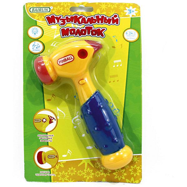Музыкальный молоток Bairun Pinball (свет, звук)Наборы инструментов<br>Характеристики:<br><br>• возраст: от 3 лет<br>• материал: пластик<br>• батарейки: 2 типа АА 1,5V<br>• наличие батареек: не входят в комплект<br>• размер упаковки: 25х16 см.<br><br>Музыкальный молоток от Bairun (Байран) обязательно привлечет внимание ребенка. Если ударить передней или задней частью молоточка о любую твердую поверхность, то он издаст звук, а также начнет излучать свет.<br>Ручка молотка рельефная, поэтому держать его очень удобно даже самым маленьким детям. Ударная часть мягкая.<br><br>Игрушка имеет красочный дизайн, а яркие цвета подарят малышу хорошее настроение. Играя с такой игрушкой, ребенок сможет развить цветовое восприятие, мелкую моторику рук, тактильную чувствительность и координацию движений.<br><br>Музыкальный молоток, Bairun (Байран) можно купить в нашем интернет-магазине.<br><br>Ширина мм: 250<br>Глубина мм: 160<br>Высота мм: 4<br>Вес г: 109<br>Возраст от месяцев: 36<br>Возраст до месяцев: 2147483647<br>Пол: Унисекс<br>Возраст: Детский<br>SKU: 6841727