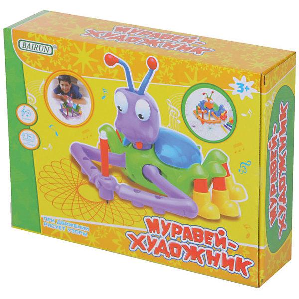 Интерактивная игрушка Bairun Муравей-художникИнтерактивные животные<br>Характеристики:<br><br>• возраст: от 3 лет<br>• комплектация: игрушечный муравей, 5 фломастеров<br>• материал: пластик<br>• батарейки: 2 типа АА<br>• наличие батареек: не входят в комплект<br>• размер упаковки: 30х7,5х22,5 см.<br><br>Интерактивная игрушка «Муравей-художник» станет замечательным подарком не только детям, но и взрослым. Стоит только включить муравья, как он начнет рисовать на бумаге различные красивые и ровные узоры, держа карандашик или фломастер в своих лапках. <br><br>Вы сами решаете, какой фломастер дать муравью и какого цвета будет узор, а амплитуду и размах его узоров можно свободно регулировать, переключая регулятор на брюшке муравья. Во время рисования творческий муравей наигрывает веселую музыку.<br><br>Игрушку Муравей-художник, Bairun (Байран) можно купить в нашем интернет-магазине.<br>Ширина мм: 300; Глубина мм: 230; Высота мм: 7; Вес г: 610; Возраст от месяцев: 36; Возраст до месяцев: 2147483647; Пол: Унисекс; Возраст: Детский; SKU: 6841730;