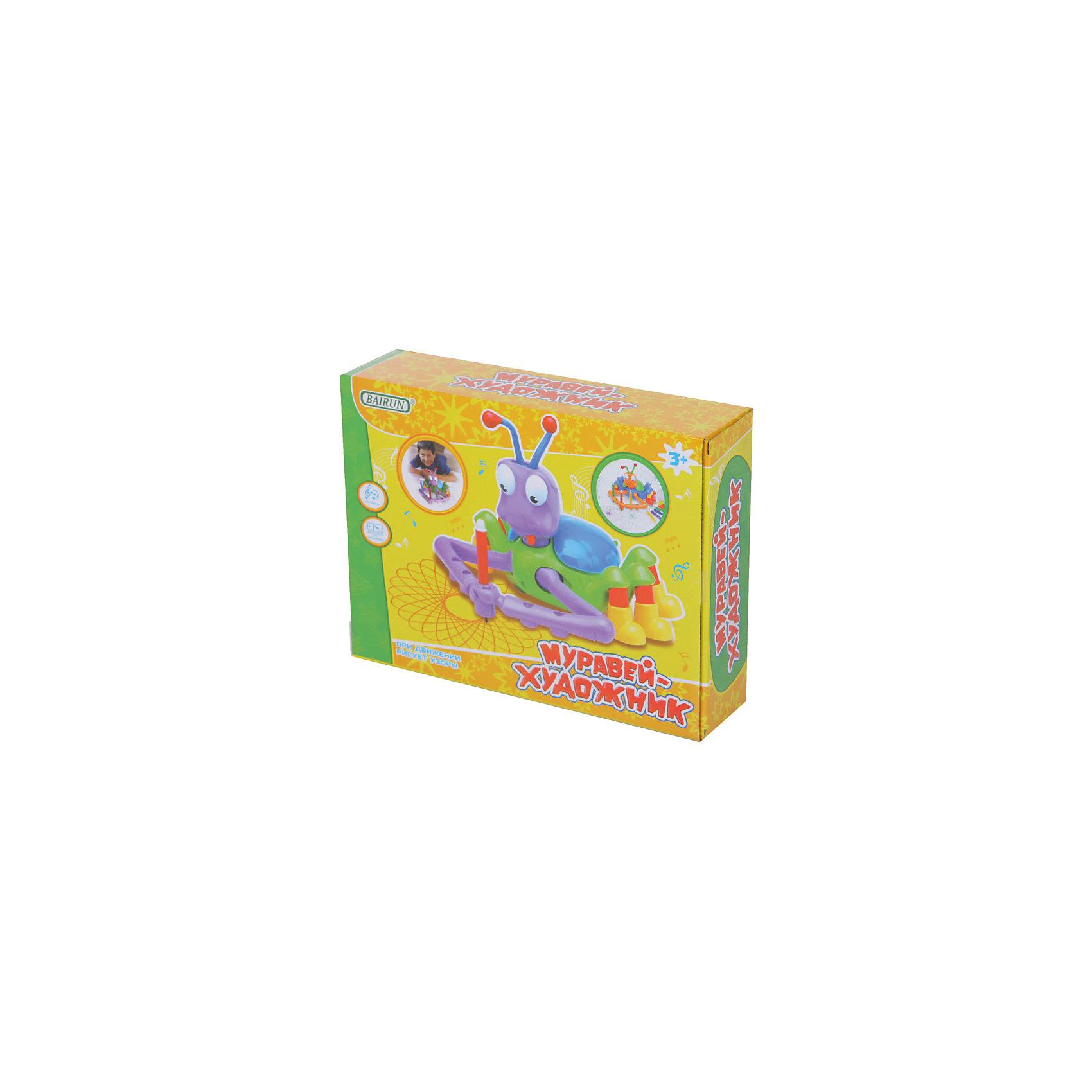 Интерактивная игрушка Bairun Муравей-художникРазвивающие игрушки<br>Характеристики:<br><br>• возраст: от 3 лет<br>• комплектация: игрушечный муравей, 5 фломастеров<br>• материал: пластик<br>• батарейки: 2 типа АА<br>• наличие батареек: не входят в комплект<br>• размер упаковки: 30х7,5х22,5 см.<br><br>Интерактивная игрушка «Муравей-художник» станет замечательным подарком не только детям, но и взрослым. Стоит только включить муравья, как он начнет рисовать на бумаге различные красивые и ровные узоры, держа карандашик или фломастер в своих лапках. <br><br>Вы сами решаете, какой фломастер дать муравью и какого цвета будет узор, а амплитуду и размах его узоров можно свободно регулировать, переключая регулятор на брюшке муравья. Во время рисования творческий муравей наигрывает веселую музыку.<br><br>Игрушку Муравей-художник, Bairun (Байран) можно купить в нашем интернет-магазине.<br><br>Ширина мм: 300<br>Глубина мм: 230<br>Высота мм: 7<br>Вес г: 610<br>Возраст от месяцев: 36<br>Возраст до месяцев: 2147483647<br>Пол: Унисекс<br>Возраст: Детский<br>SKU: 6841730