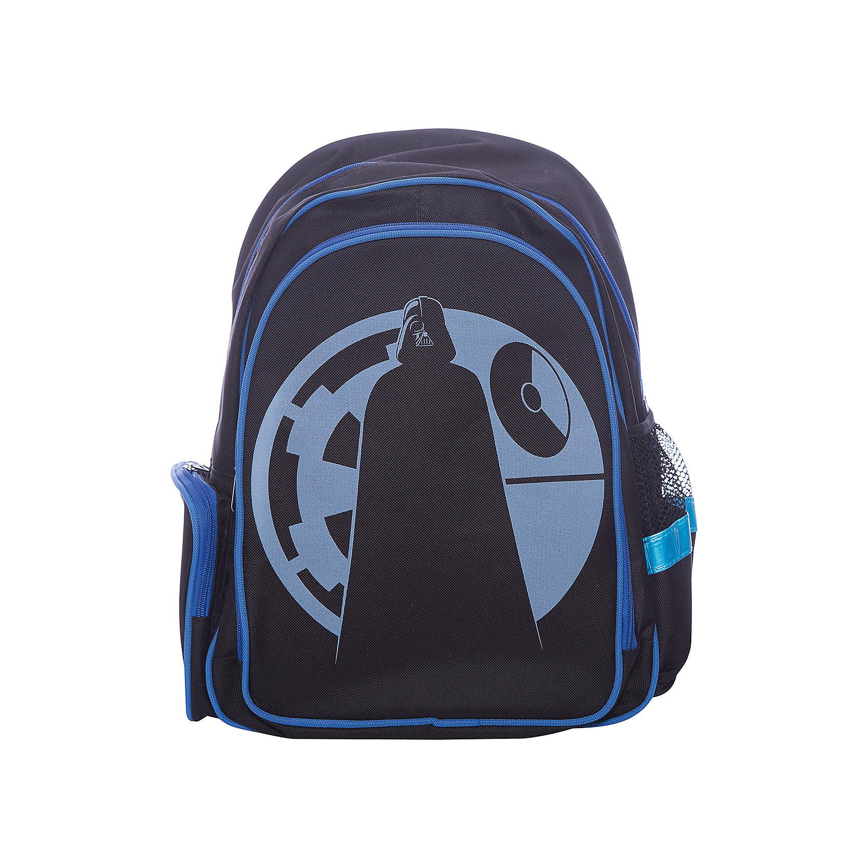 Рюкзак школьный Звездные войныШкольные рюкзаки<br>Вес: 620 г.<br>Размер: 43х31х16 см.<br>Состав: нет<br>Наличие светоотражающих элементов: да<br>Материал: жаккард<br>Спина: уплотненная<br>Наличие дополнительных карманов внутри: нет<br>Дно выбрать: жесткое<br>Количество отделений: 1<br>Боковые карманы: есть, молния, резинка<br>Замок: молния<br>Вмещает А4: да<br>Подойдет для возраста какого 6-11 лет<br>Рюкзак, материал жаккард, 840 ден, уплотненная спинка, широкие мягкие регулируемые лямки, 1 отделение, 2 боковых кармана, 1 внешний большой карман на молнии, ручка-петля<br><br>Ширина мм: 160<br>Глубина мм: 310<br>Высота мм: 430<br>Вес г: 620<br>Возраст от месяцев: 72<br>Возраст до месяцев: 2147483647<br>Пол: Мужской<br>Возраст: Детский<br>SKU: 6842114