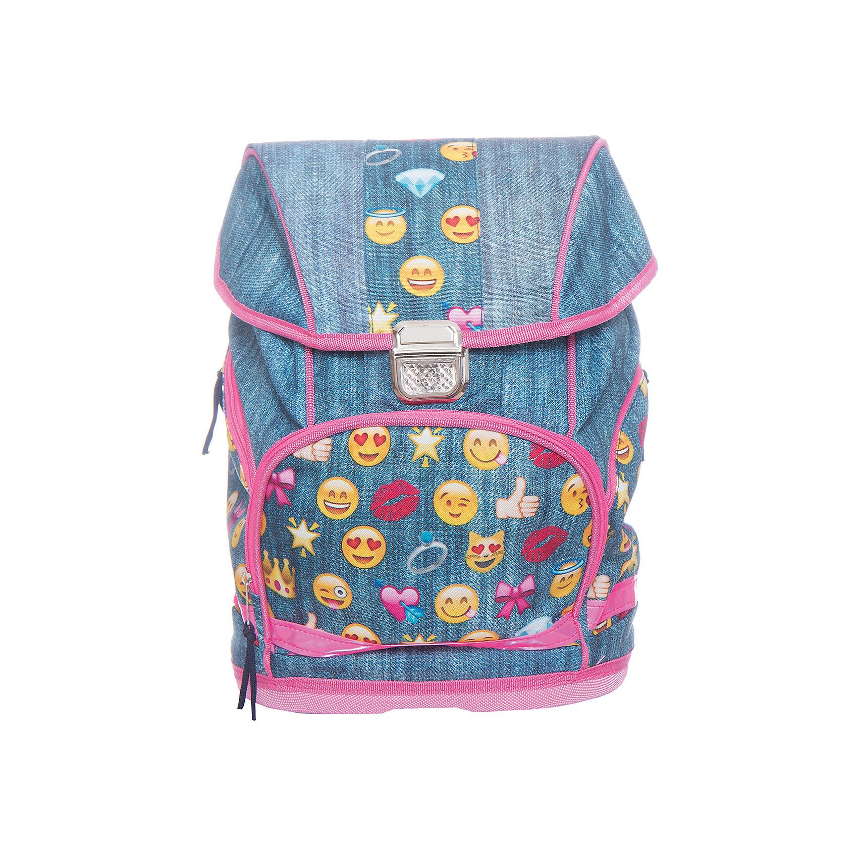 Рюкзак школьный Смайлы, девочкиШкольные рюкзаки<br>Вес: 750 г.<br>Размер: 38х30х18 см.<br>Состав: нет<br>Наличие светоотражающих элементов: да<br>Материал: полиэстер<br>Спина: уплотненная<br>Наличие дополнительных карманов внутри: нет<br>Дно выбрать: жесткое<br>Количество отделений: 1<br>Боковые карманы: есть, молния<br>Замок: защелка<br>Вмещает А4: да<br>Подойдет для возраста какого 8-13 лет<br>Рюкзак, 1 отделение,  из мягкой и прочной ткани с водоотталкивающей пропиткой, металлический замок со светоотражающим катофотом, три вместительных кармана снаружи на молнии со светоотражающей лентой, уплотненная спинка, мягкие регулируемые лямки.<br><br>Ширина мм: 180<br>Глубина мм: 300<br>Высота мм: 380<br>Вес г: 750<br>Возраст от месяцев: 72<br>Возраст до месяцев: 2147483647<br>Пол: Женский<br>Возраст: Детский<br>SKU: 6842124