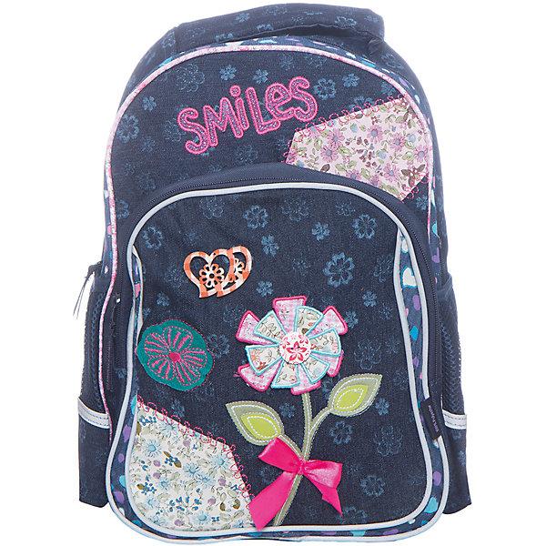 Рюкзак школьный, серия SmilesРюкзаки<br>Характеристики:<br><br>• размер: 40.5х30х14 см.;<br>• состав: полиэстер;<br>• вес: 520 г.;<br>• особенности: светоотражающие знаки;<br>• для детей в возрасте: от 8 лет;<br>• страна производитель: Китай.<br><br>Этот вместительный рюкзак, выполненный в джинсовом стиле от бренда CENTRIUM (Центриум) отлично подойдёт для школы и внеклассных занятий. Рюкзак оснащён одним обширным отделением на молнии, в которое помещаются книги и тетради формата А4. Спереди расположен передний карман на молнии для тетрадей А5 и канцелярских принадлежностей. По бокам находятся два сетчатых кармана на резинках для мелочей или бутылочки воды. <br><br>Мягкая спинка из однородного материала приятна в использовании. Широкие и регулируемые лямки способствуют правильному распределению нагрузки на спину. С помощью качественно прошитой ручки рюкзак можно носить в руке или вешать на крючок. Благодаря своему каркасу, рюкзак сохраняет свою форму и в нем легче найти нужный предмет или книгу.<br><br>Рюкзак выполнен в соответствии с требованиями безопасности детей в тёмное время суток и оснащён деталями со светоотражающими частицами спереди и по бокам.<br><br>Рюкзак серия Smiles (Смайлс) можно купить в нашем интернет-магазине.<br>Ширина мм: 140; Глубина мм: 405; Высота мм: 300; Вес г: 520; Возраст от месяцев: 72; Возраст до месяцев: 2147483647; Пол: Женский; Возраст: Детский; SKU: 6842144;