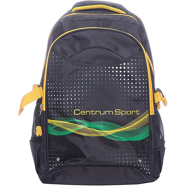 Рюкзак школьный молодежный SportРюкзаки<br>Характеристики:<br><br>• размер: 44.5х14х33 см.;<br>• состав: полиэстер;<br>• вес: 572 г.;<br>• для детей в возрасте: от 10 лет;<br>• страна производитель: Китай.<br><br>Этот вместительный рюкзак, выполненный в стильном дизайне от бренда CENTRIUM (Центриум) отлично подойдёт для школы и внеклассных занятий. Рюкзак оснащён обширным отделением на молнии, в которое помещаются книги и тетради формата А4. Спереди расположен большой карман для тетрадей и канцелярских принадлежностей. По бокам расположены сетчатые карманы для мелочей или бутылочки с водой.<br><br>Уплотнённая спинка пропускает воздух и приятна в использовании. Широкие и регулируемые лямки способствуют правильному распределению нагрузки на спину. С помощью качественно прошитой ручки рюкзак можно носить в руке или вешать на крючок. Благодаря своему каркасу, рюкзак сохраняет свою форму и в нём легче найти нужный предмет или книгу.<br>Рюкзак оснащён деталями со светоотражающими частицами спереди, на лямках.<br><br>Рюкзак спортивный молодёжный можно купить в нашем интернет-магазине.<br>Ширина мм: 140; Глубина мм: 330; Высота мм: 445; Вес г: 572; Возраст от месяцев: 72; Возраст до месяцев: 2147483647; Пол: Унисекс; Возраст: Детский; SKU: 6842166;