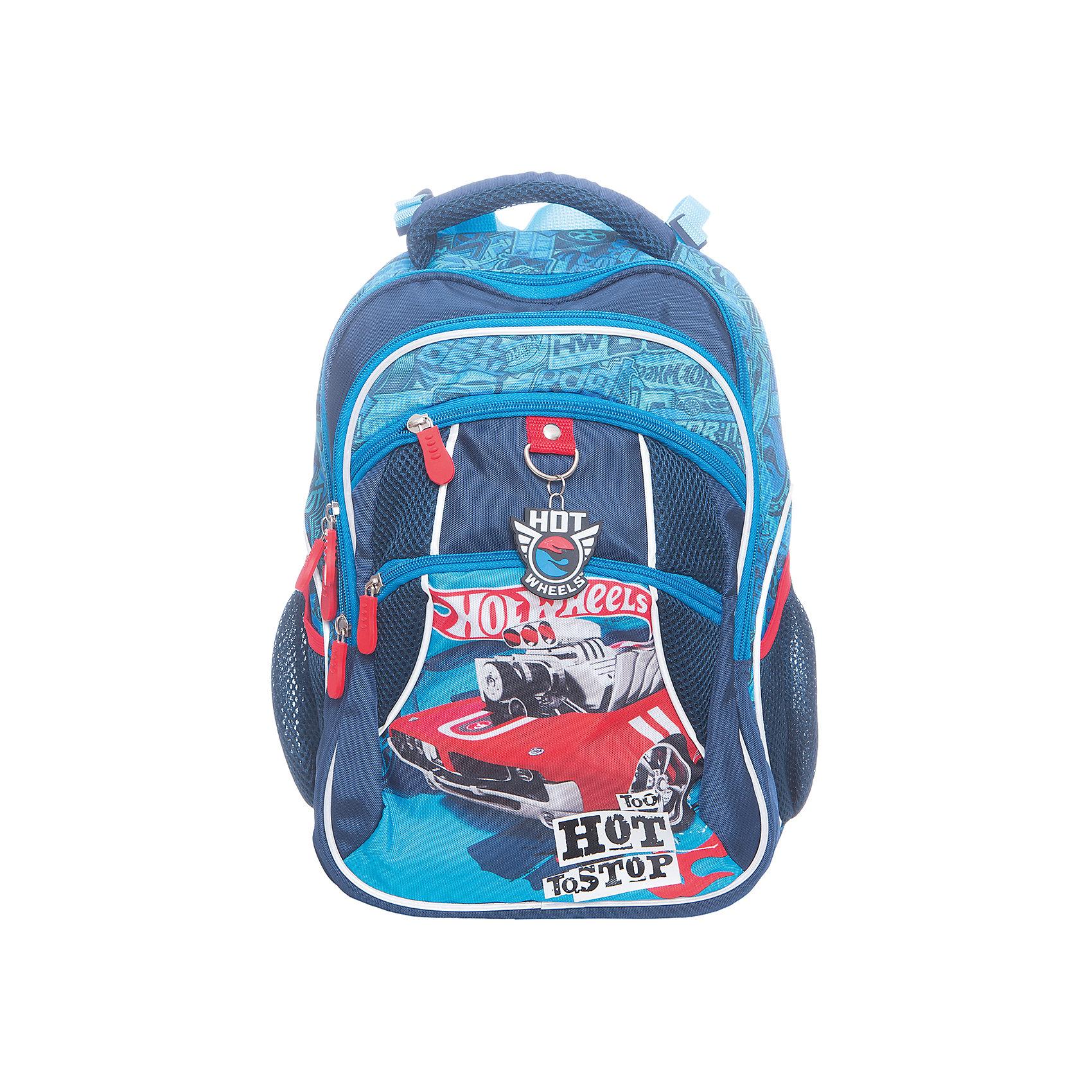 Рюкзак школьный Hot Wheels Super CarРюкзаки<br>Характеристики товара:<br><br>• принт: Hot Wheels Super Car<br>• для начальной школы<br>• цвет: синий<br>• материал: полиэстер, пластик<br>• спинка: эргономичная<br>• размер изделия: 17х28х38 см<br>• вес в кг: 450гр<br>• страна бренда: Германия<br>• страна изготовитель: Китай<br><br>Рюкзак школьный ErichKrause с 2 основными отделениями для учебников, тетрадей, блокнотов и других школьных принадлежностей. <br><br>Спереди 2 кармана на молнии, по бокам сетчатые кармашки для бутылочки с водой. Рюкзак изготовлен из прочного износостойкого полиэстера с водотталкивающей пропиткой.<br><br>Твердая спинка эргономичной конструкции прямо держит спину, чтобы избежать искривления позвоночника, а<br>сетчатый материал на спинке и внутренней стороне лямок обеспечивает циркуляцию воздуха.<br><br>Светоотражающие вставки гарантируют видимость на темной дороге.<br><br>Рюкзак с эргономичной спинкой Hot Wheels Super Car можно купить в нашем интернет-магазине.<br><br>Ширина мм: 440<br>Глубина мм: 330<br>Высота мм: 190<br>Вес г: 697<br>Возраст от месяцев: 72<br>Возраст до месяцев: 96<br>Пол: Мужской<br>Возраст: Детский<br>SKU: 6842678