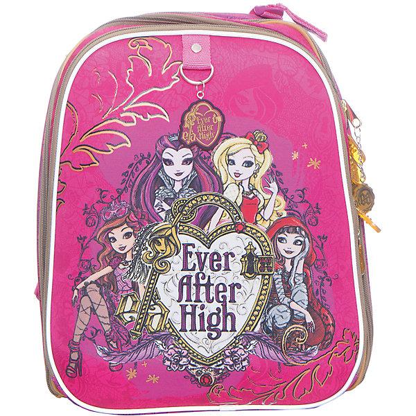 Рюкзак с эргономичной спинкой Ever After HighEver After High<br>Характеристики товара:<br><br>• принт: Ever After High<br>• для начальной школы<br>• цвет: розовый<br>• материал: полиэстер, пластик<br>• спинка: эргономичная<br>• размер изделия: 17х32х38 см<br>• вес в кг:870гр<br>• страна бренда: Германия<br>• страна изготовитель: Китай<br><br>Каркасный рюкзак школьный ErichKrause с 2 основными отделениями для учебников, тетрадей, блокнотов и других школьных принадлежностей. <br><br>2 кармана на молнии, по бокам сетчатые кармашки для бутылочки с водой. Рюкзак изготовлен из прочного износостойкого полиэстера с водотталкивающей пропиткой.<br><br>Твердая спинка эргономичной конструкции прямо держит спину, чтобы избежать искривления позвоночника, а<br>сетчатый материал на спинке и внутренней стороне лямок обеспечивает циркуляцию воздуха.<br><br>Светоотражающие вставки гарантируют видимость на темной дороге.<br><br>Каскасный рюкзак с эргономичной спинкой Ever After High можно купить в нашем интернет-магазине.<br>Ширина мм: 360; Глубина мм: 270; Высота мм: 200; Вес г: 1265; Возраст от месяцев: 72; Возраст до месяцев: 96; Пол: Женский; Возраст: Детский; SKU: 6842680;