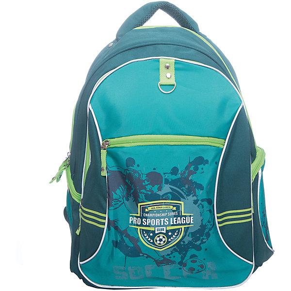 Рюкзак школьный Erich KrausePRO Sports LeagueРюкзаки<br>Характеристики товара:<br><br>коллекция: PRO Sports League<br>для средней и старшей школы<br>цвет: зеленый<br>материал: полиэстер<br>спинка с уплотнителем и MESH-сеткой<br>размер изделия: 44х33х19 см<br>вес в кг: 600гр<br>страна бренда: Германия<br>страна изготовитель: Китай<br><br>Школьный рюкзак Erich Krause - вместительный рюкзак, в который помещается все необходимое для учебы. Спереди большой карман для тетрадей, блокнотов, ежедневников, а также небольшой кармашек на молнии для ключей, телефона. По бокам 2 кармана на молнии. <br><br>Рюкзак выполнен из прочного износостойкого полиэстера, устойчивого к морозам. Твердая спинка эргономичной конструкции поддерживает спину прямо во время ношения. Внутренняя сторона лямок сделана из воздухопроницаемого материала AirMesh.<br><br>Светоотражающие элементы гарантируют видимость в темное время суток.<br><br>Erich Krause Рюкзак школьный PRO Sports League можно купить в нашем интернет-магазине.<br><br>Ширина мм: 400<br>Глубина мм: 390<br>Высота мм: 180<br>Вес г: 808<br>Возраст от месяцев: 72<br>Возраст до месяцев: 168<br>Пол: Мужской<br>Возраст: Детский<br>SKU: 6842690