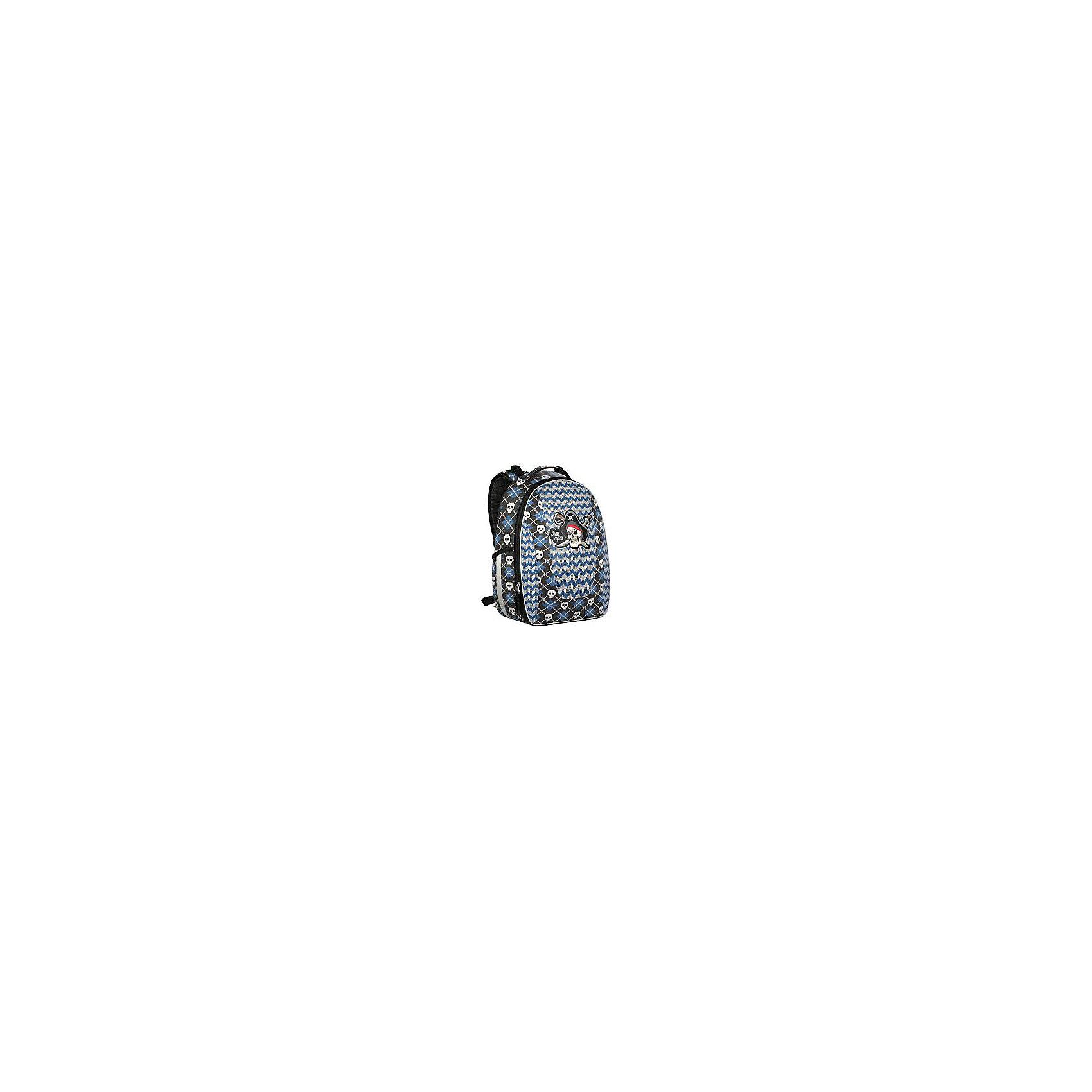 Рюкзак школьный Erich Krause с эргономичной спинкой PiratesРюкзаки<br>Характеристики товара:<br><br>• серия: Multi Pack mini<br>• коллекция: Pirates<br>• для средней школы<br>• цвет: синий, серый<br>• материал: полиэстер, пластик<br>• светоотражатели<br>• спинка с уплотнителем и MESH-сеткой<br>• размер изделия: 27х17х36 см<br>• вес в кг: 650гр<br>• страна бренда: Германия<br>• страна изготовитель: Китай<br><br>Рюкзак ErichKrause Multi Pack mini имеет каркасную конструкцию, которая защищает содержимое рюкзака от повреждений. <br><br>Рюкзак разделен на 2 отделения, в которые помещаются альбомы и папки формата А4. Внутри имеются разделители для тетрадей, органайзер для канцелярских принадлежностей и небольшой кармашек. Спереди один большой карман на молнии, по бокам 2 кармашка для мелочей.<br><br>Твердая ортопедическая спинка повторяет изгиб позвоночника, делая максимально комфортным ношение рюкзака. Мягкие подушечки обеспечивают плотное прилегание, а воздухопроницаемый материал обеспечивает циркуляцию воздуха.<br><br>Erich Krause Рюкзак школьный с эргономичной спинкой Pirates можно купить в нашем интернет-магазине.<br><br>Ширина мм: 360<br>Глубина мм: 270<br>Высота мм: 200<br>Вес г: 1117<br>Возраст от месяцев: 72<br>Возраст до месяцев: 96<br>Пол: Мужской<br>Возраст: Детский<br>SKU: 6842764