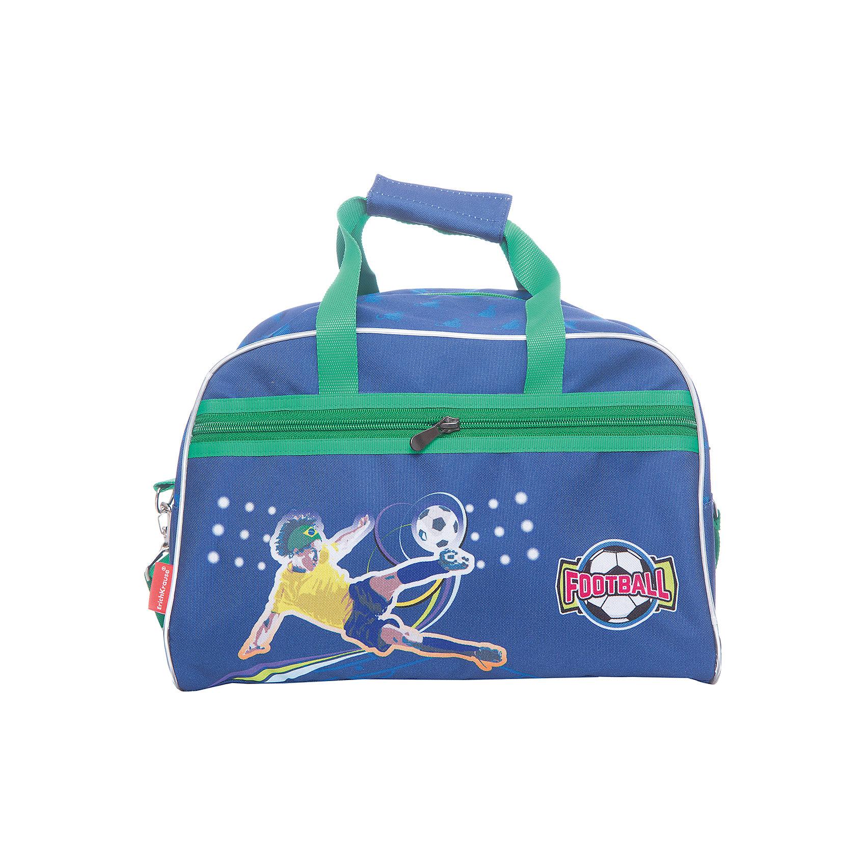 Erich Krause Сумка детская для спорта FootballСпортивные сумки<br>Характеристики товара:<br><br>• коллекция: Football<br>• цвет: синий<br>• материал: полиэстер<br>• большое внутреннее отделение<br>• ручка со специальной вставкой на липучке<br>• двойная молния<br>• размер изделия: 26х35х24 см<br>• вес в кг: 460гр<br>• страна бренда: Германия<br><br>Erich Krause Сумку для спорта Football можно купить в нашем интернет-магазине.<br><br>Ширина мм: 440<br>Глубина мм: 350<br>Высота мм: 150<br>Вес г: 404<br>Возраст от месяцев: 72<br>Возраст до месяцев: 96<br>Пол: Мужской<br>Возраст: Детский<br>SKU: 6842779