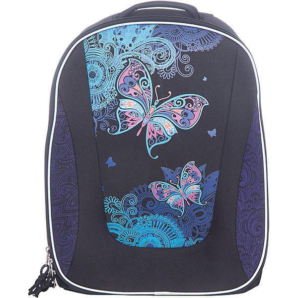 Рюкзак школьный Erich Krauseс эргономичной спинкой Magic ButterflyРюкзаки<br>Характеристики товара:<br><br>• серия: Multi Pack<br>• коллекция:  Magic Butterfly<br>• для средней и старшей школы<br>• цвет: черный, фиолетовый<br>• материал: полиэстер, пластик<br>• спинка: эргономичная<br>• размер изделия: 40x32x18 см<br>• вес в кг: 820гр<br>• страна бренда: Германия<br>• страна изготовитель: Китай<br><br>Рюкзак ErichKrause Multi Pack - вместительный и удобный школьный рюкзак с твердой спинкой. <br><br>Во внутреннем отделении помещаются папки формата А4. Внутри имеется органайзер для канцелярских принадлежностей и небольшой кармашек для телефона. Спереди один большой карман на молнии, по бокам 2 сетчатых кармашка.<br><br>Эргономичная спинка поддерживает спину прямо и препятствует развитию сколиоза. Конструкция повторяет изгиб позвоночника, делая максимально комфортным ношение рюкзака. <br><br>Светоотражающие вставки гарантируют видимость на темной дороге.<br><br>Erich Krause Рюкзак школьный  с эргономичной спинкой Magic Butterfly можно купить в нашем интернет-магазине.<br><br>Ширина мм: 400<br>Глубина мм: 350<br>Высота мм: 180<br>Вес г: 1190<br>Возраст от месяцев: 72<br>Возраст до месяцев: 96<br>Пол: Женский<br>Возраст: Детский<br>SKU: 6842785