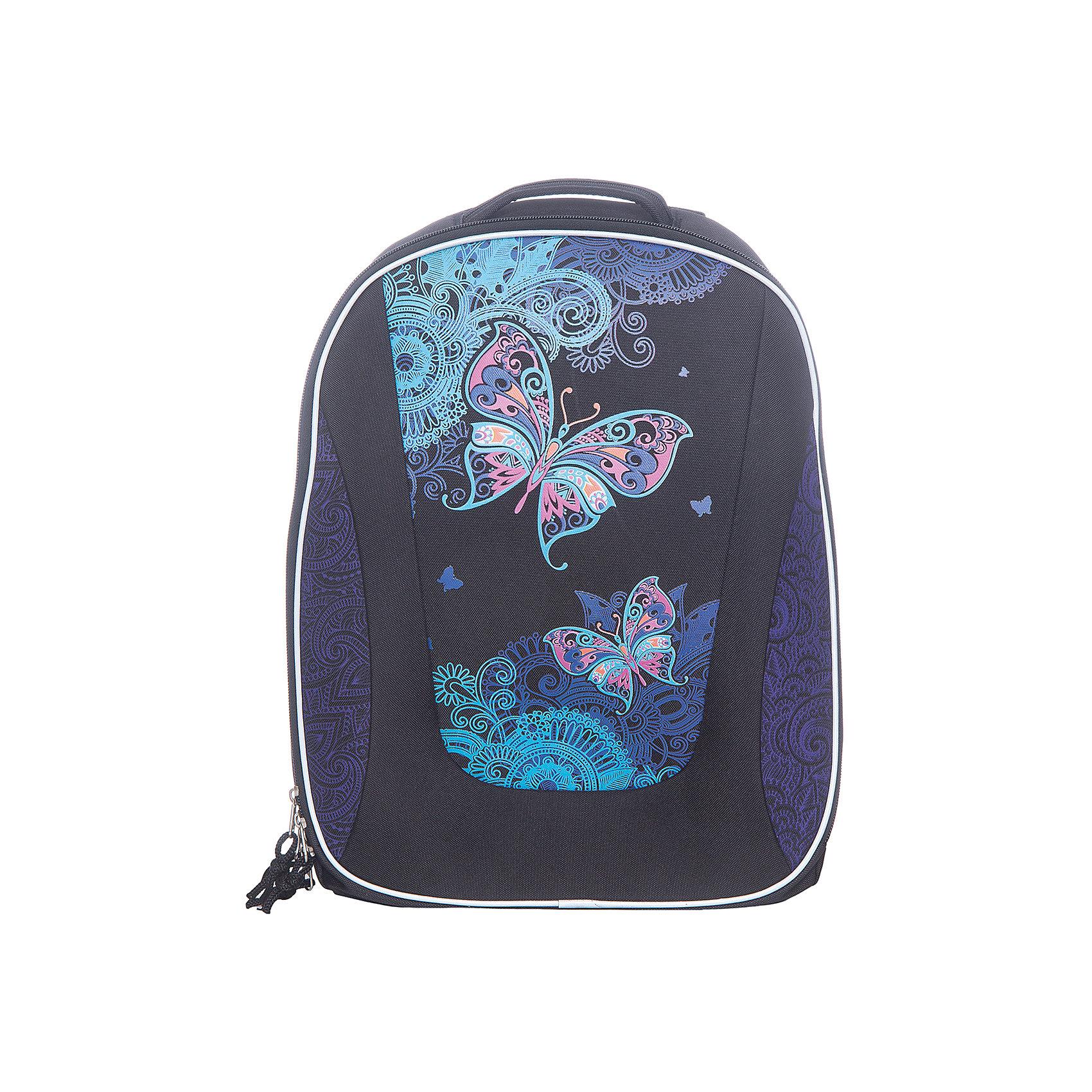 Erich Krause Рюкзак школьный с эргономичной спинкой Magic ButterflyРюкзаки<br>Характеристики товара:<br><br>• серия: Multi Pack<br>• коллекция:  Magic Butterfly<br>• для средней и старшей школы<br>• цвет: черный, фиолетовый<br>• материал: полиэстер, пластик<br>• спинка: эргономичная<br>• размер изделия: 40x32x18 см<br>• вес в кг: 820гр<br>• страна бренда: Германия<br>• страна изготовитель: Китай<br><br>Рюкзак ErichKrause Multi Pack - вместительный и удобный школьный рюкзак с твердой спинкой. <br><br>Во внутреннем отделении помещаются папки формата А4. Внутри имеется органайзер для канцелярских принадлежностей и небольшой кармашек для телефона. Спереди один большой карман на молнии, по бокам 2 сетчатых кармашка.<br><br>Эргономичная спинка поддерживает спину прямо и препятствует развитию сколиоза. Конструкция повторяет изгиб позвоночника, делая максимально комфортным ношение рюкзака. <br><br>Светоотражающие вставки гарантируют видимость на темной дороге.<br><br>Erich Krause Рюкзак школьный  с эргономичной спинкой Magic Butterfly можно купить в нашем интернет-магазине.<br><br>Ширина мм: 400<br>Глубина мм: 350<br>Высота мм: 180<br>Вес г: 1190<br>Возраст от месяцев: 72<br>Возраст до месяцев: 96<br>Пол: Женский<br>Возраст: Детский<br>SKU: 6842785