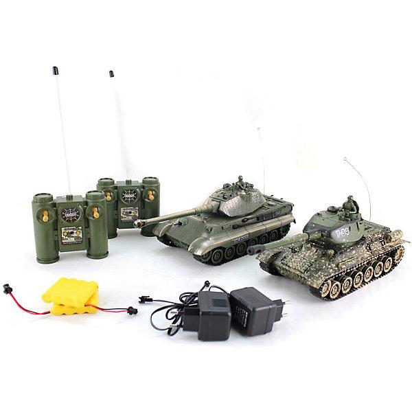 Танковый бой, Т-34 (СССР) King Tiger, на радиоуправлении, ShantouРадиоуправляемые танки<br>Характеристики товара:<br><br>• возраст: от 5 лет;<br>• материал: пластик;<br>• в комплекте: 2 танка, 2 пульта, зарядное устройство;<br>• масштаб: 1:28;<br>• дальность действия пульта: 12 м;<br>• радиус действия системы инфракрасного ведения боя: 8 м;<br>• время работы: 15-20 минут;<br>• время зарядки: 4 часа;<br>• размер упаковки: 41х32х13,5 см;<br>• вес упаковки: 2 кг;<br>• страна производитель: Китай.<br><br>Танковый бой T-34 / Tiger King Shantou сведет в противостоянии 2 легендарных танка — советский Т-34 и немецкий Tiger King. Управление танками осуществляется при помощи пультов управления. Танк умеет ездить вперед, назад, поворачивать, кругом вращаться на месте, подниматься в подъемы под углом 45 градусов.<br><br>При движении танки могут достигать скорости до 6 км/час. Пушка танка вращается на 320 градусов. Оснащен индикацией уровня жизни. Световые и звуковые эффекты делают игру еще увлекательней. После игры отключаются автоматически.<br><br>Танковый бой T-34 / Tiger King Shantou можно приобрести в нашем интернет-магазине.<br>Ширина мм: 410; Глубина мм: 135; Высота мм: 320; Вес г: 2000; Возраст от месяцев: 60; Возраст до месяцев: 2147483647; Пол: Мужской; Возраст: Детский; SKU: 6844293;