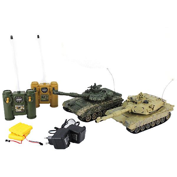 Танковый бой  Т-90 (Россия) - Abrams M1A2 на радиоуправлении, ShantouРадиоуправляемые танки<br>Характеристики товара:<br><br>• возраст: от 5 лет;<br>• материал: пластик;<br>• в комплекте: 2 танка, 2 пульта, зарядное устройство;<br>• масштаб: 1:28;<br>• дальность действия пульта: 12 м;<br>• радиус действия системы инфракрасного ведения боя: 8 м;<br>• время работы: 15-20 минут;<br>• время зарядки: 4 часа;<br>• размер упаковки: 41х32х13,5 см;<br>• вес упаковки: 2 кг;<br>• страна производитель: Китай.<br><br>Танковый бой T-90 / Abrams M1A2 Shantou сведет в противостоянии 2 легендарных танка — советский Т-90 и американский Abrams M1A2. Управление танками осуществляется при помощи пультов управления. Танк умеет ездить вперед, назад, поворачивать, кругом вращаться на месте, подниматься в подъемы под углом 45 градусов.<br><br>При движении танки могут достигать скорости до 6 км/час. Пушка танка вращается на 320 градусов. Оснащен индикацией уровня жизни. Световые и звуковые эффекты делают игру еще увлекательней. После игры отключаются автоматически.<br><br>Танковый бой T-90 / Abrams M1A2 Shantou можно приобрести в нашем интернет-магазине.<br>Ширина мм: 415; Глубина мм: 135; Высота мм: 320; Вес г: 2000; Возраст от месяцев: 60; Возраст до месяцев: 2147483647; Пол: Мужской; Возраст: Детский; SKU: 6844294;