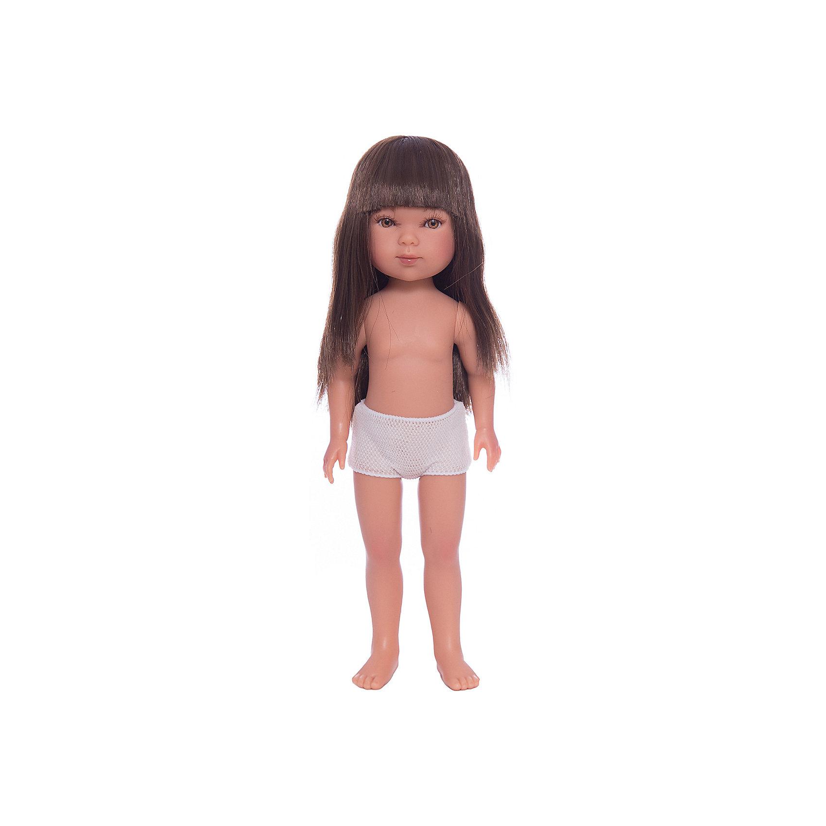 Кукла Карлотта, брюнетка с челкой, Vestida de AzulКлассические куклы<br>1. Придумай индивидуальный образ для базовой куклы Карлотты.<br>2. Длинные темные волосы куклы густо прошиты и напоминают натуральные. Челка прошита отдельно, а значит всегда будет красиво уложенной.  <br>3. От милого личика Карлотты невозможно оторвать глаз: пухлые щечки с румянцем и прекрасные карие глазки с проклеенными вручную ресницами, похожими на настоящие. <br>4. Глаза выделены тоненькой линией подводки, что делает взгляд куклы «живым».<br>5. Великолепная детализация куклы: очень четко очерченные пальчики, складочки, румянец на щечках, коленках и локтях.<br>6. У куклы подвижные руки, ноги и голова, а значит кукле можно придавать различные позы, что сделает игру более реалистичным.<br>7. Кукла изготовлена из плотного гипоаллергенного винила без ароматизаторов и умеет стоять без поддержки в обуви и без нее.<br>8. Рост куклы 28 см.<br><br>Ширина мм: 350<br>Глубина мм: 120<br>Высота мм: 80<br>Вес г: 380<br>Возраст от месяцев: 36<br>Возраст до месяцев: 2147483647<br>Пол: Женский<br>Возраст: Детский<br>SKU: 6844309