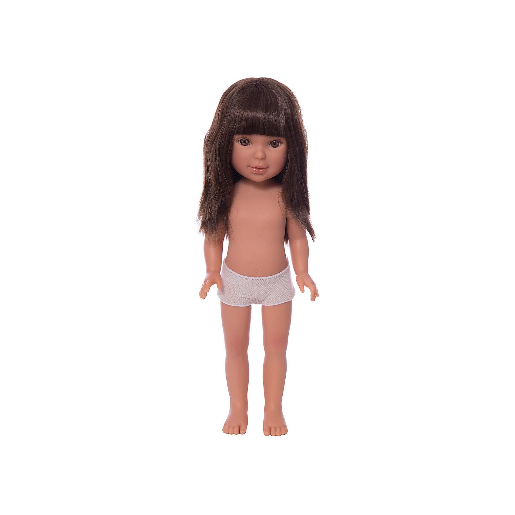 Кукла Паулина, брюнетка с челкой, Vestida de AzulКлассические куклы<br>1. Создай индивидуальный образ для базовой куклы-красотки Паулины.<br>2. Длинные темные волосы куклы густо прошиты и напоминают натуральные. Челка прошита отдельно, а значит всегда будет красиво уложенной. <br>3. От милого личика Паулины невозможно оторвать глаз: пухлые щечки с румянцем и прекрасные карие глазки с проклеенными вручную ресницами, похожими на настоящие. <br>4. Глаза выделены тоненькой линией подводки, что делает взгляд куклы «живым».<br>5. Великолепная детализация: очень четко очерченные пальчики, складочки, румянец на щечках, коленках и локтях.<br>6. У куклы подвижные руки, ноги и голова, а значит кукле можно придавать различные позы, что сделает игру более реалистичным.<br>7. Кукла изготовлена из плотного гипоаллергенного винила без ароматизаторов и умеет стоять без поддержки в обуви и без нее.<br>8. Рост куклы 33 см.<br><br>Ширина мм: 350<br>Глубина мм: 120<br>Высота мм: 80<br>Вес г: 700<br>Возраст от месяцев: 36<br>Возраст до месяцев: 2147483647<br>Пол: Женский<br>Возраст: Детский<br>SKU: 6844311