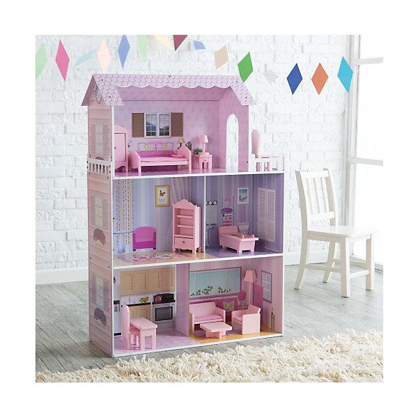 Кукольныи? домик из дерева с мебелью «Волшебная сказка», Kids4KidsДомики для кукол<br>Характеристики товара:<br><br>• возраст: от 3 лет;<br>• материал: дерево, пластик;<br>• в комплекте: дом, 12 предметов мебели;<br>• высота дома: 117 см;<br>• подходит для кукол высотой до 35 см;<br>• размер упаковки: 82х42х23 см;<br>• вес упаковки: 15,28 кг;<br>• страна производитель: Китай.<br><br>Кукольный домик с мебелью «Волшебная сказка» Kids4Kids — настоящий домик для куклы, выполненный в розовых тонах. Он станет для куклы уютным местом, где она может отдохнуть, принимать гостей, приготовить вкусные блюда. Домик подойдет для кукол до 35 см.<br><br>Дом разделен на 3 этажа и состоит из 5 комнат. На верхнем этаже расположилась небольшая терраса для отдыха. Все предметы мебели легко переставляются, что позволит девочке обустроить домик на свое усмотрение и попробовать себя дизайнером. Мебель выполнена из качественного натурального дерева.<br><br>Кукольный домик с мебелью «Волшебная сказка» Kids4Kids можно приобрести в нашем интернет-магазине.<br><br>Ширина мм: 320<br>Глубина мм: 880<br>Высота мм: 470<br>Вес г: 17000<br>Возраст от месяцев: 36<br>Возраст до месяцев: 2147483647<br>Пол: Женский<br>Возраст: Детский<br>SKU: 6844315