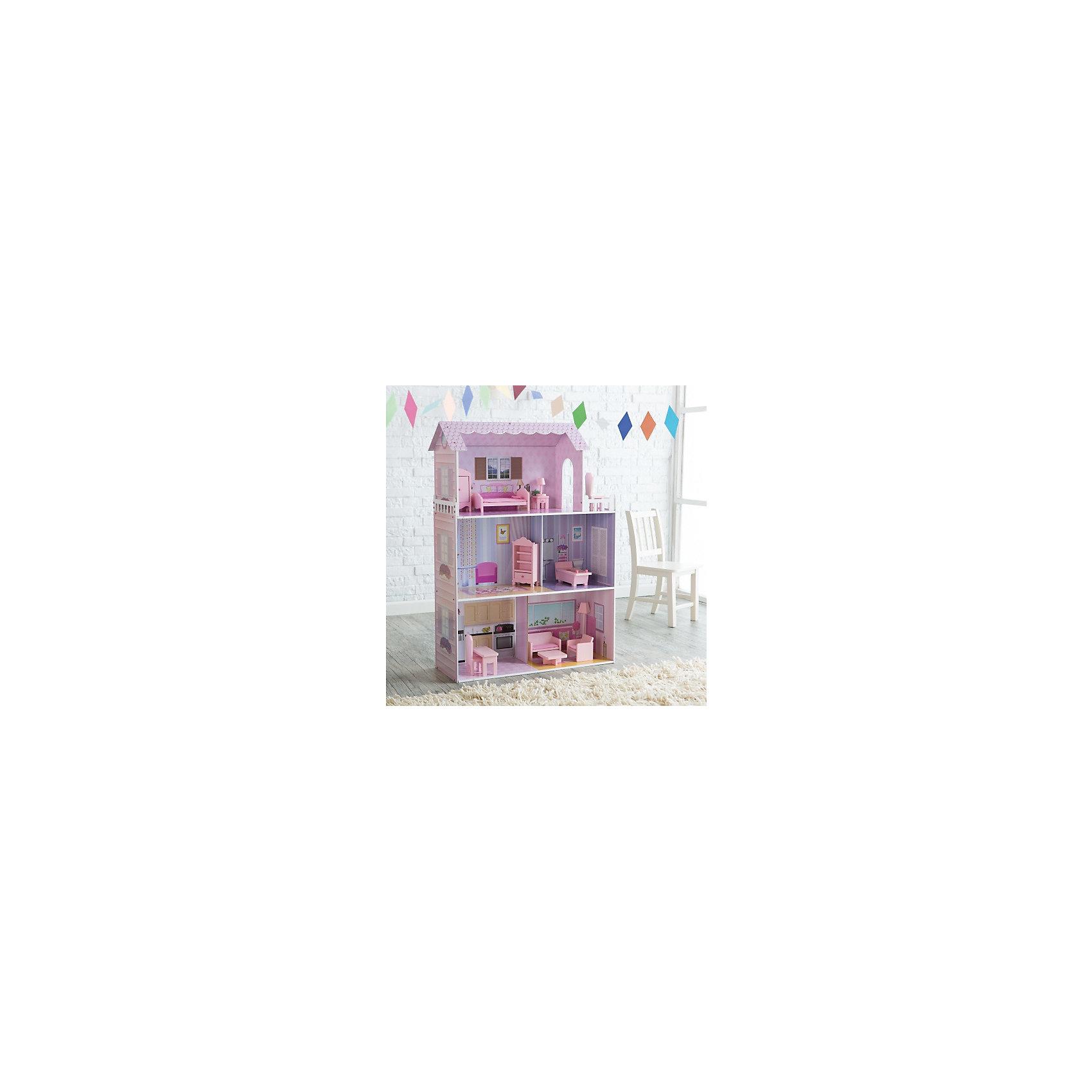Кукольныи? домик из дерева с мебелью «Волшебная сказка», Kids4KidsДеревянные куклы, домики и мебель<br>Характеристики товара:<br><br>• возраст: от 3 лет;<br>• материал: дерево, пластик;<br>• в комплекте: дом, 12 предметов мебели;<br>• высота дома: 117 см;<br>• подходит для кукол высотой до 35 см;<br>• размер упаковки: 82х42х23 см;<br>• вес упаковки: 15,28 кг;<br>• страна производитель: Китай.<br><br>Кукольный домик с мебелью «Волшебная сказка» Kids4Kids — настоящий домик для куклы, выполненный в розовых тонах. Он станет для куклы уютным местом, где она может отдохнуть, принимать гостей, приготовить вкусные блюда. Домик подойдет для кукол до 35 см.<br><br>Дом разделен на 3 этажа и состоит из 5 комнат. На верхнем этаже расположилась небольшая терраса для отдыха. Все предметы мебели легко переставляются, что позволит девочке обустроить домик на свое усмотрение и попробовать себя дизайнером. Мебель выполнена из качественного натурального дерева.<br><br>Кукольный домик с мебелью «Волшебная сказка» Kids4Kids можно приобрести в нашем интернет-магазине.<br><br>Ширина мм: 320<br>Глубина мм: 880<br>Высота мм: 470<br>Вес г: 17000<br>Возраст от месяцев: 36<br>Возраст до месяцев: 2147483647<br>Пол: Женский<br>Возраст: Детский<br>SKU: 6844315