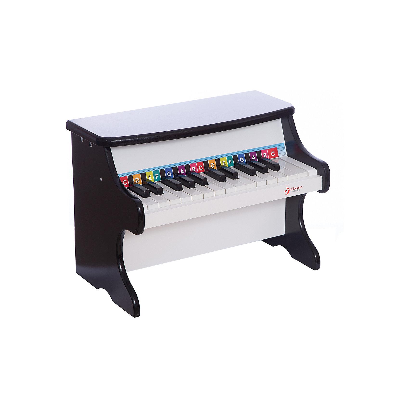 Детское пианино классическое, Classic WorldМузыкальные инструменты и игрушки<br>Великолепное пианино для первых музыкальных импровизации?. Классическии? цвет, лаковыи? блеск и приятное звучание для маленьких музыкантов.19 клавиш с классическим звучанием.<br>1.  Этот замечательный музыкальный инструмент может стать для Вашего малыша первым музыкальным инструментом, с которым ребенок сделает первый шаг в таком нелегком деле, как знакомство с музыкой. <br>2. Детское пианино непременно вызовит интерес малыша к занятию музыкой.<br>3. Пианино способствует развитию умственных способностей, мелкой моторики и формирует чувство прекрасного.<br><br>Ширина мм: 400<br>Глубина мм: 300<br>Высота мм: 250<br>Вес г: 5400<br>Возраст от месяцев: 36<br>Возраст до месяцев: 2147483647<br>Пол: Унисекс<br>Возраст: Детский<br>SKU: 6844316
