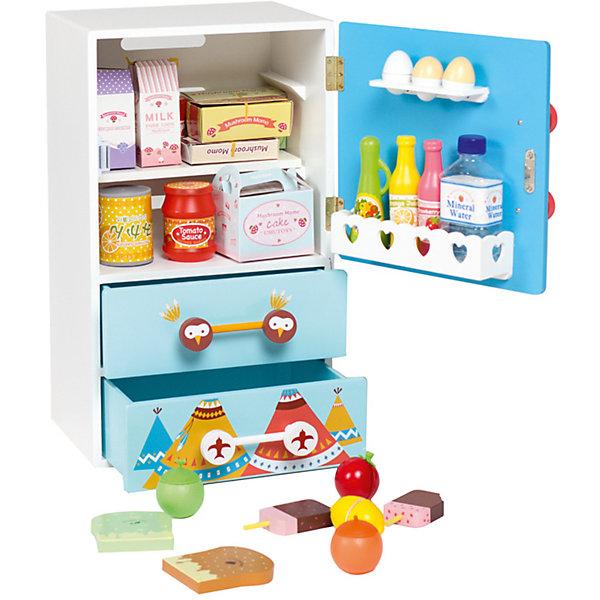 Детскии? холодильник из дерева «Модныи? поваренок», Kids4KidsИгрушечная бытовая техника<br>Характеристики товара:<br><br>• возраст: от 3 лет;<br>• материал: дерево, пластик, картон;<br>• в комплекте: холодильник, 25 предметов;<br>• размер холодильника: 48х26х26 см;<br>• размер упаковки: 53х32х28 см;<br>• вес упаковки: 6,44 кг;<br>• страна производитель: Китай.<br><br>Детский холодильник из дерева «Модный поваренок» Kids4Kids — необходимый аксессуар маленького кулинара, в котором хранятся продукты для приготовления блюд. Холодильник выполнен в ярких расцветках и украшен изображением совенка.<br><br>У холодильника 2 ящика, 2 внутренние полочки, полочка для яиц и полочка для бутылок. Магнитная дверца плавно открывается и закрывается. <br><br>Игрушка научит маленькую хозяйку порядку, организованности, чистоте, тренирует внимательность, аккуратность, память и воображение. Холодильник выполнен из качественного натурального дерева.<br><br>Детский холодильник из дерева «Модный поваренок» Kids4Kids можно приобрести в нашем интернет-магазине.<br>Ширина мм: 270; Глубина мм: 310; Высота мм: 550; Вес г: 10000; Возраст от месяцев: 36; Возраст до месяцев: 2147483647; Пол: Унисекс; Возраст: Детский; SKU: 6844319;