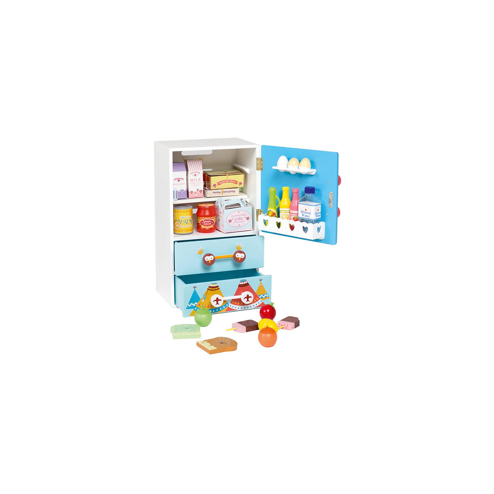Детскии? холодильник из дерева «Модныи? поваренок», Kids4KidsИгрушечная бытовая техника<br>Характеристики товара:<br><br>• возраст: от 3 лет;<br>• материал: дерево, пластик, картон;<br>• в комплекте: холодильник, 25 предметов;<br>• размер холодильника: 48х26х26 см;<br>• размер упаковки: 53х32х28 см;<br>• вес упаковки: 6,44 кг;<br>• страна производитель: Китай.<br><br>Детский холодильник из дерева «Модный поваренок» Kids4Kids — необходимый аксессуар маленького кулинара, в котором хранятся продукты для приготовления блюд. Холодильник выполнен в ярких расцветках и украшен изображением совенка.<br><br>У холодильника 2 ящика, 2 внутренние полочки, полочка для яиц и полочка для бутылок. Магнитная дверца плавно открывается и закрывается. <br><br>Игрушка научит маленькую хозяйку порядку, организованности, чистоте, тренирует внимательность, аккуратность, память и воображение. Холодильник выполнен из качественного натурального дерева.<br><br>Детский холодильник из дерева «Модный поваренок» Kids4Kids можно приобрести в нашем интернет-магазине.<br><br>Ширина мм: 270<br>Глубина мм: 310<br>Высота мм: 550<br>Вес г: 10000<br>Возраст от месяцев: 36<br>Возраст до месяцев: 2147483647<br>Пол: Унисекс<br>Возраст: Детский<br>SKU: 6844319