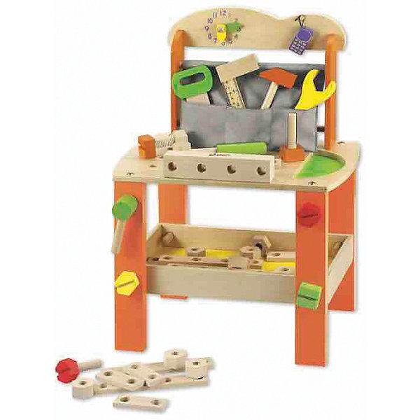 Игровои? стол из дерева с инструментами Набор столяра», Classic WorldНаборы инструментов<br>Характеристики товара:<br><br>• возраст: от 3 лет;<br>• материал: дерево, пластик;<br>• в комплекте: столик, 37 предметов;<br>• размер стола: 56х40х30 см;<br>• размер упаковки: 43х29,5х14 см;<br>• вес упаковки: 2,74 кг;<br>• страна производитель: Китай.<br><br>Игровой стол с инструментами «Набор столяра» Classic World — настоящий столик с инструментами для начинающего юного плотника. На рабочей поверхности маленький плотник будет работать, делая из деревянных элементов разнообразные фигурки.<br><br>Для хранения инструментов предусмотрен кармашек и полочка. На стенке часы, которые приучат ребенка к соблюдению распорядка дня. В процессе игры у ребенка развиваются логическое мышление, мелкая моторика рук, воображение, память, аккуратность, внимательность.<br><br>Все детали выполнены из качественного натурального дерева и хорошо отшлифованы. При изготовлении использовались безопасные краски.<br><br>Игровой стол с инструментами «Набор столяра» Classic World можно приобрести в нашем интернет-магазине.<br><br>Ширина мм: 415<br>Глубина мм: 290<br>Высота мм: 135<br>Вес г: 3000<br>Возраст от месяцев: 36<br>Возраст до месяцев: 2147483647<br>Пол: Мужской<br>Возраст: Детский<br>SKU: 6844320