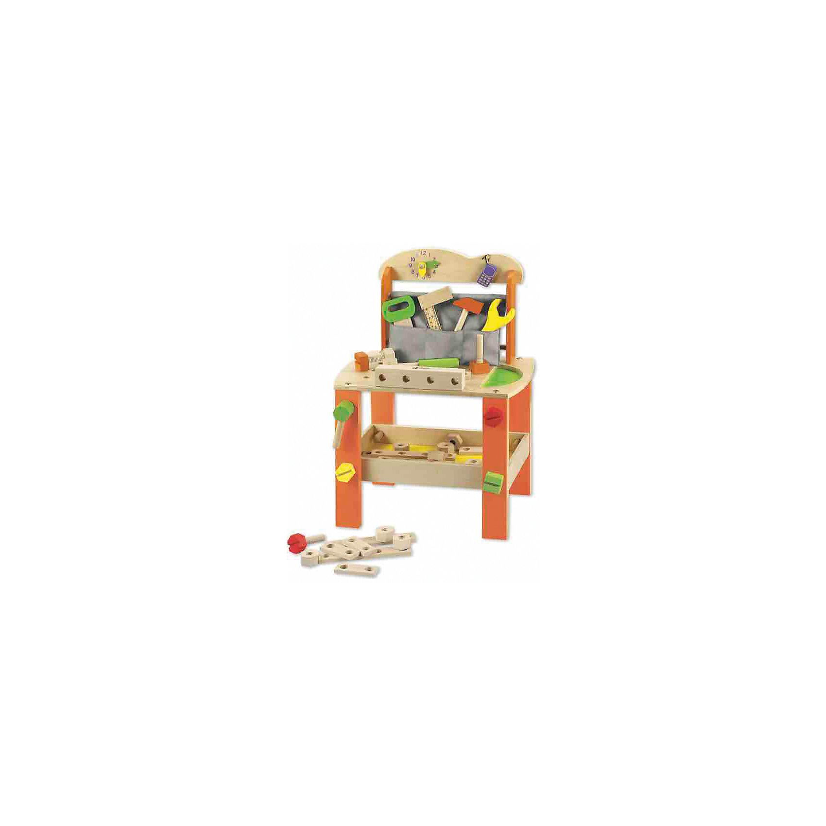 Игровои? стол из дерева с инструментами Набор столяра», Classic WorldМастерская и инструменты<br>Характеристики товара:<br><br>• возраст: от 3 лет;<br>• материал: дерево, пластик;<br>• в комплекте: столик, 37 предметов;<br>• размер стола: 56х40х30 см;<br>• размер упаковки: 43х29,5х14 см;<br>• вес упаковки: 2,74 кг;<br>• страна производитель: Китай.<br><br>Игровой стол с инструментами «Набор столяра» Classic World — настоящий столик с инструментами для начинающего юного плотника. На рабочей поверхности маленький плотник будет работать, делая из деревянных элементов разнообразные фигурки.<br><br>Для хранения инструментов предусмотрен кармашек и полочка. На стенке часы, которые приучат ребенка к соблюдению распорядка дня. В процессе игры у ребенка развиваются логическое мышление, мелкая моторика рук, воображение, память, аккуратность, внимательность.<br><br>Все детали выполнены из качественного натурального дерева и хорошо отшлифованы. При изготовлении использовались безопасные краски.<br><br>Игровой стол с инструментами «Набор столяра» Classic World можно приобрести в нашем интернет-магазине.<br><br>Ширина мм: 415<br>Глубина мм: 290<br>Высота мм: 135<br>Вес г: 3000<br>Возраст от месяцев: 36<br>Возраст до месяцев: 2147483647<br>Пол: Мужской<br>Возраст: Детский<br>SKU: 6844320
