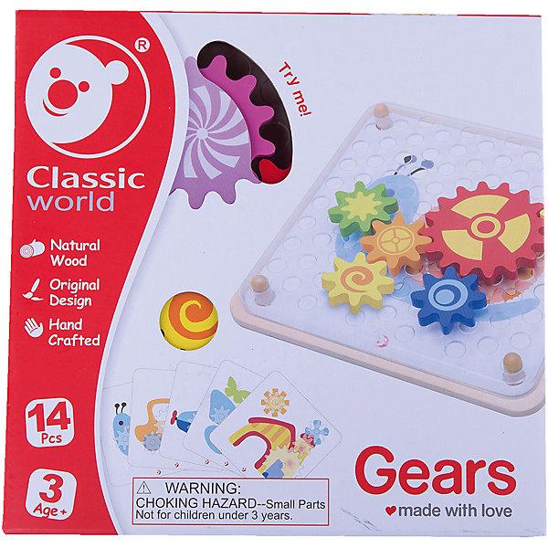 Деревянная мозаика-конструктор Шустрые шестерёнки, Classic WorldДеревянные конструкторы<br>Характеристики товара:<br><br>• возраст: от 3 лет;<br>• материал: дерево;<br>• в комплекте: 7 шестеренок, 5 карточек с заданиями;<br>• размер игрушки: 22х22х3,5 см;<br>• размер упаковки: 22х22х4 см;<br>• вес упаковки: 500 гр.;<br>• страна производитель: Китай.<br><br>Деревянная мозаика-конструктор «Шустрые шестеренки» Classic World — увлекательная развивающая игрушка, состоящая из нескольких цветных шестеренок. С ними малыш познакомится с принципами механики и работы крутящихся шестеренок.<br><br>5 карточек с заданиями позволят ребенку создать свой первый механизм и запустить его. В процессе игры развиваются логическое мышление, смекалка, сообразительность. Игрушка изготовлена из качественного натурального дерева.<br><br>Деревянную мозаику-конструктор «Шустрые шестеренки» Classic World можно приобрести в нашем интернет-магазине.<br>Ширина мм: 220; Глубина мм: 40; Высота мм: 220; Вес г: 490; Возраст от месяцев: 36; Возраст до месяцев: 2147483647; Пол: Унисекс; Возраст: Детский; SKU: 6844324;