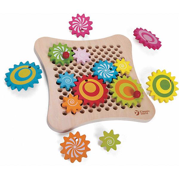Деревянная развивающая игра Весёлые шестерёнки, Classic WorldИзучаем цвета и формы<br>Характеристики товара:<br><br>• возраст: от 3 лет;<br>• материал: дерево;<br>• в комплекте: шестеренки, игровое поле, карточки с заданиями;<br>• размер игрушки: 27х27х4 см;<br>• размер упаковки: 28х28х6 см;<br>• вес упаковки: 1,08 кг;<br>• страна производитель: Китай.<br><br>Деревянная развивающая игра «Веселые шестеренки» Classic World — увлекательная развивающая игрушка, состоящая из нескольких цветных шестеренок. С ними малыш познакомится с принципами механики и работы крутящихся шестеренок.<br><br>Карточки с заданиями позволят ребенку создать свой первый механизм и запустить его. В процессе игры развиваются логическое мышление, смекалка, сообразительность, ребенок учит цвета и понятия формы. Игрушка изготовлена из качественного натурального дерева.<br><br>Деревянную развивающую игру «Веселые шестеренки» Classic World можно приобрести в нашем интернет-магазине.<br><br>Ширина мм: 280<br>Глубина мм: 60<br>Высота мм: 280<br>Вес г: 800<br>Возраст от месяцев: 36<br>Возраст до месяцев: 2147483647<br>Пол: Унисекс<br>Возраст: Детский<br>SKU: 6844325