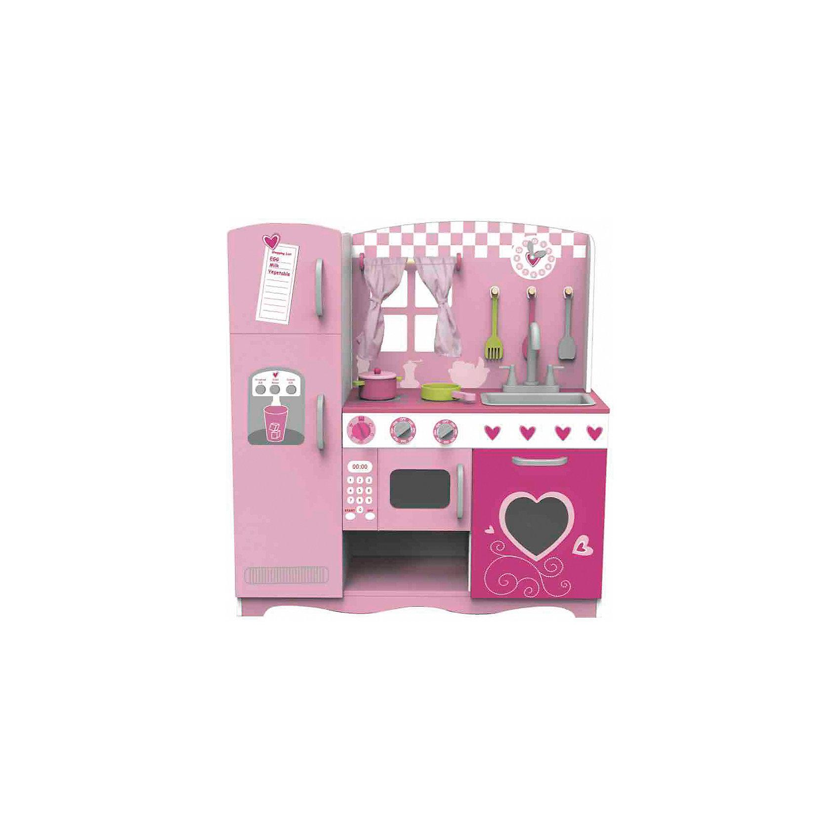 Деревянная кухня с плитой, мойкой, микроволновкой и холодильником Мечта поварёнка, Classic WorldДетские кухни<br>Характеристики товара:<br><br>• возраст: от 2 лет;<br>• материал: дерево, текстиль;<br>• в комплекте: кухня, кастрюля, сковорода, 3 предмета утвари, шторки;<br>• размер кухни: 85х33,5х91 см;<br>• размер упаковки: 96х67х10 см;<br>• вес упаковки: 21,7 кг;<br>• страна производитель: Китай.<br><br>Деревянная кухня «Мечта поваренка» Classic World — настоящая кухня для маленькой хозяйки, где она попробует себя шеф-поваром и приготовит вкусные блюда. <br><br>Кухня оборудована всем необходимым для приготовления блюд: микроволновой печью, варочной панелью и посудой. Продукты хранятся в холодильнике с 2 отделениями и открывающимися дверцами. Дополнительный шкафчик позволит аккуратно хранить все вещи и предметы. На крючках висят предметы утвари.<br><br>Кухня и предметы выполнены из качественного натурального дерева, отшлифованы и не имеют опасных элементов.<br><br>Деревянную кухню «Мечта поваренка» Classic World можно приобрести в нашем интернет-магазине.<br><br>Ширина мм: 960<br>Глубина мм: 100<br>Высота мм: 670<br>Вес г: 21700<br>Возраст от месяцев: 36<br>Возраст до месяцев: 2147483647<br>Пол: Женский<br>Возраст: Детский<br>SKU: 6844327