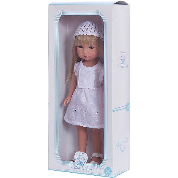 Кукла Карлотта, блондинка с челкой, Лето Винтаж, Vestida de AzulКуклы<br>Характеристики товара:<br><br>• возраст: от 3 лет;<br>• материал: винил;<br>• в комплекте: кукла, платье, шапочка;<br>• высота куклы: 28 см;<br>• размер упаковки: 34х14х9 см;<br>• вес упаковки: 355 гр.;<br>• страна производитель: Испания.<br><br>Кукла Карлотта блондинка с челкой «Лето Винтаж» Vestida de Azul одета в легкое летнее платье, вязаную шапочку и белоснежные босоножки. У Карлотты милое личико с большими живыми глазками, щечками с легким румянцем. Густые светлые волосы с челкой очень похожи на натуральные. Девочка сможет расчесывать их, укладывать, заплетать, придумывая кукле разнообразные прически.<br><br>Куклу Карлотту блондинка с челкой «Лето Винтаж» Vestida de Azul можно приобрести в нашем интернет-магазине.<br><br>Ширина мм: 195<br>Глубина мм: 95<br>Высота мм: 350<br>Вес г: 380<br>Возраст от месяцев: 36<br>Возраст до месяцев: 2147483647<br>Пол: Женский<br>Возраст: Детский<br>SKU: 6844331