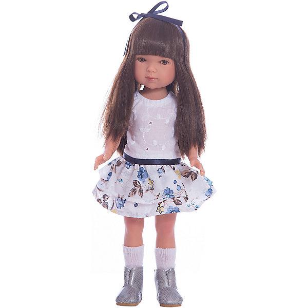 Кукла Карлотта, брюнетка с челкой, Лето Casual, Vestida de AzulБренды кукол<br>Характеристики товара:<br><br>• возраст: от 3 лет;<br>• материал: винил, текстиль;<br>• в комплекте: кукла, наряд;<br>• высота куклы: 28 см;<br>• размер упаковки: 35х19,5х9,5 см;<br>• вес упаковки: 400 гр.;<br>• страна производитель: Испания.<br><br>Кукла Карлотта брюнетка с челкой «Лето Casual» Vestida de Azul одета в белую майку, цветную юбочку и ботиночки, а на голове повязана ленточка. У Карлотты милое личико с большими живыми глазками, щечками с легким румянцем. Густые темные волосы с челкой очень похожи на натуральные. Девочка сможет расчесывать их, укладывать, заплетать, придумывая кукле разнообразные прически.<br><br>Куклу Карлотту брюнетка с челкой «Лето Casual» Vestida de Azul можно приобрести в нашем интернет-магазине.<br>Ширина мм: 195; Глубина мм: 95; Высота мм: 350; Вес г: 380; Возраст от месяцев: 36; Возраст до месяцев: 2147483647; Пол: Женский; Возраст: Детский; SKU: 6844333;