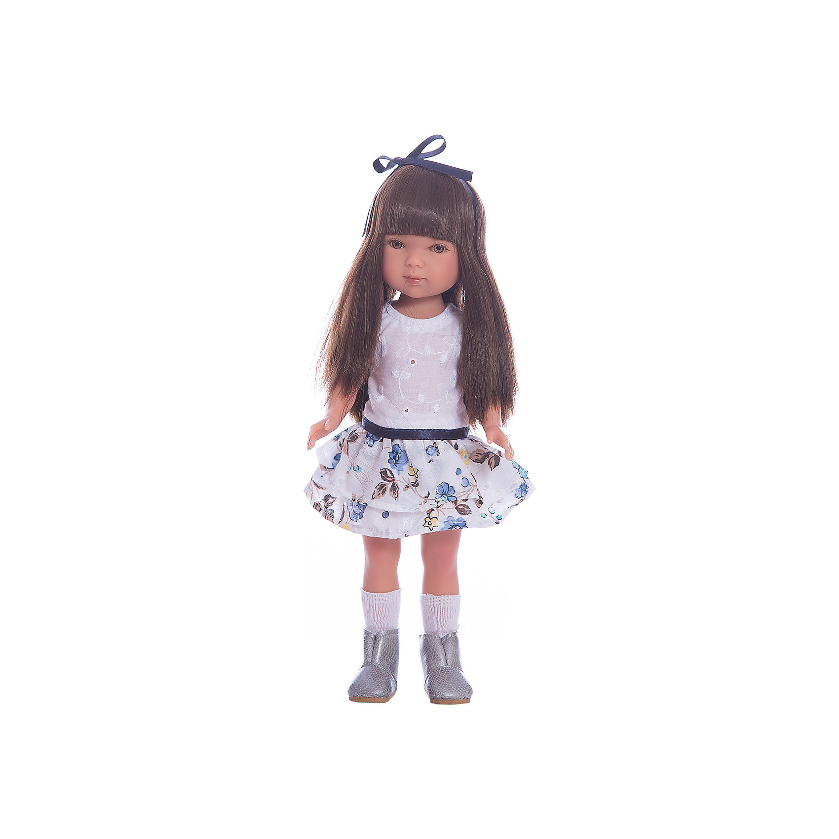 Кукла Карлотта, брюнетка с челкой, Лето Casual, Vestida de AzulКлассические куклы<br>1. Милая брюнетка Карлотта в летнем образе в популярном стиле casual: нежное платье с пышной юбкой, украшенной цветочным принтом и серебристые сапожки. Стильный внешний вид куклы поможет сформировать вкус ребенка.<br>2. Милое личико куколки никого не оставит равнодушным: пухлые щечки с румянцем, вздернутый носик и выразительные глазки с длинными ресницами, наклеенными вручную, которые выглядят как настоящие.<br>3. Длинные волосы куклы густо прошиты и напоминают натуральные. Челка прошита отдельно, а значит всегда будет красиво уложенной.  <br>4. Кукла высоко детализирована: очень четко очерченные пальчики, складочки, румянец на щечках, коленках и локтях.<br>5. Кукла изготовлена из плотного гипоаллергенного винила без ароматизаторов, и умеет стоять без поддержи.<br>6. Подвижные руки, ноги и голова для незабываемой реалистичной игры.<br>7. Рост куклы - 28 см.<br><br>Ширина мм: 195<br>Глубина мм: 95<br>Высота мм: 350<br>Вес г: 380<br>Возраст от месяцев: 36<br>Возраст до месяцев: 2147483647<br>Пол: Женский<br>Возраст: Детский<br>SKU: 6844333