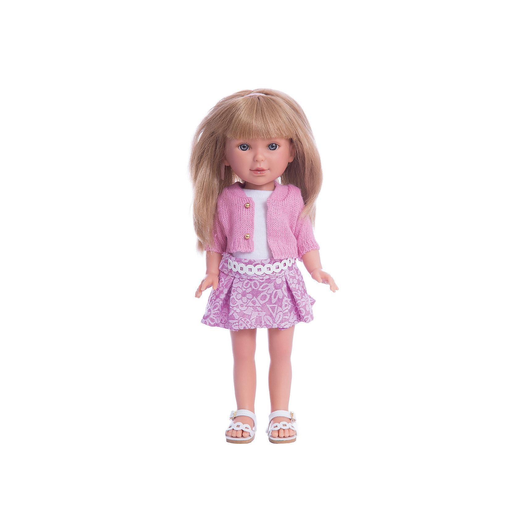 Кукла Паулина, блондинка с челкой, Лето Городской Шик, Vestida de AzulКлассические куклы<br>Характеристики товара:<br><br>• возраст: от 3 лет;<br>• материал: винил, текстиль;<br>• в комплекте: кукла, наряд;<br>• высота куклы: 33 см;<br>• размер упаковки: 40х18х9 см;<br>• вес упаковки: 655 гр.;<br>• страна производитель: Испания.<br><br>Кукла Паулина блондинка с челкой «Лето Городской Шик» Vestida de Azul одета в майку, розовую юбочку и розовый кардиган. У Паулины милое личико с большими живыми глазками, щечками с легким румянцем. Светлые мягкие волосы очень похожи на натуральные. Девочка сможет расчесывать их, укладывать, заплетать, придумывая кукле разнообразные прически.<br><br>Куклу Паулину блондинка с челкой «Лето Городской Шик» Vestida de Azul можно приобрести в нашем интернет-магазине.<br><br>Ширина мм: 225<br>Глубина мм: 105<br>Высота мм: 405<br>Вес г: 700<br>Возраст от месяцев: 36<br>Возраст до месяцев: 2147483647<br>Пол: Женский<br>Возраст: Детский<br>SKU: 6844338